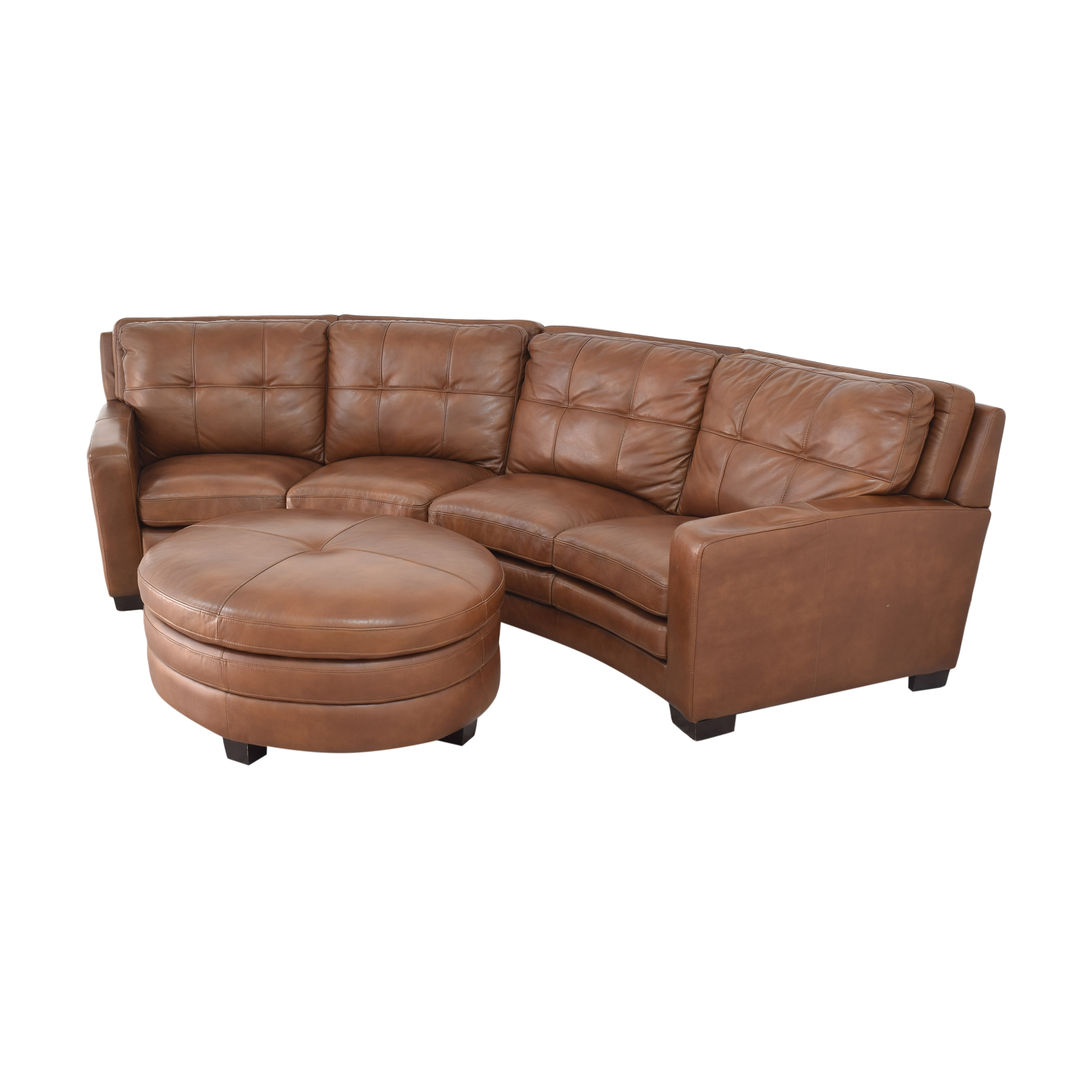 Crescent Sectional Sofa with Ottoman brown