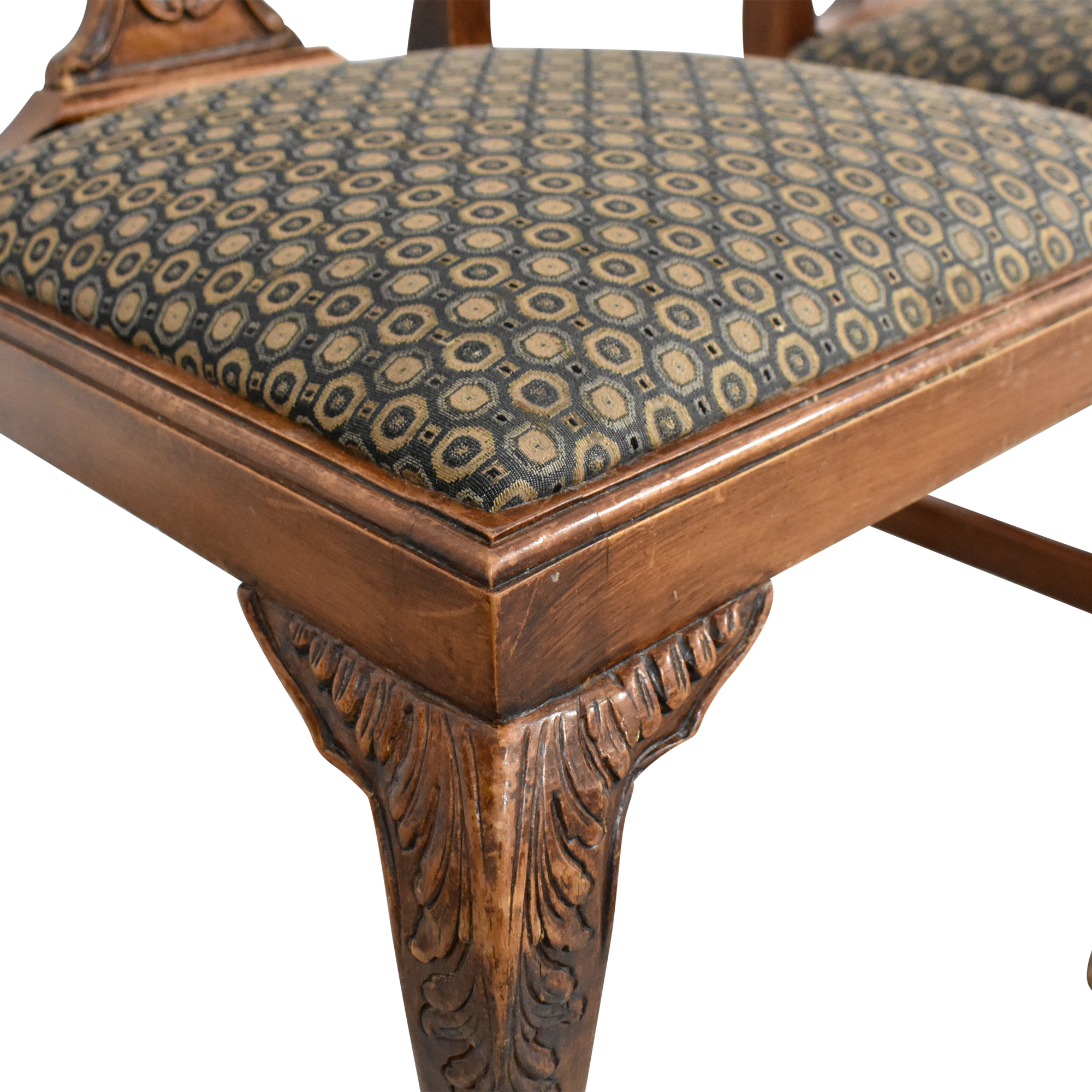 Carved Back Upholstered Dining Chairs / Chairs