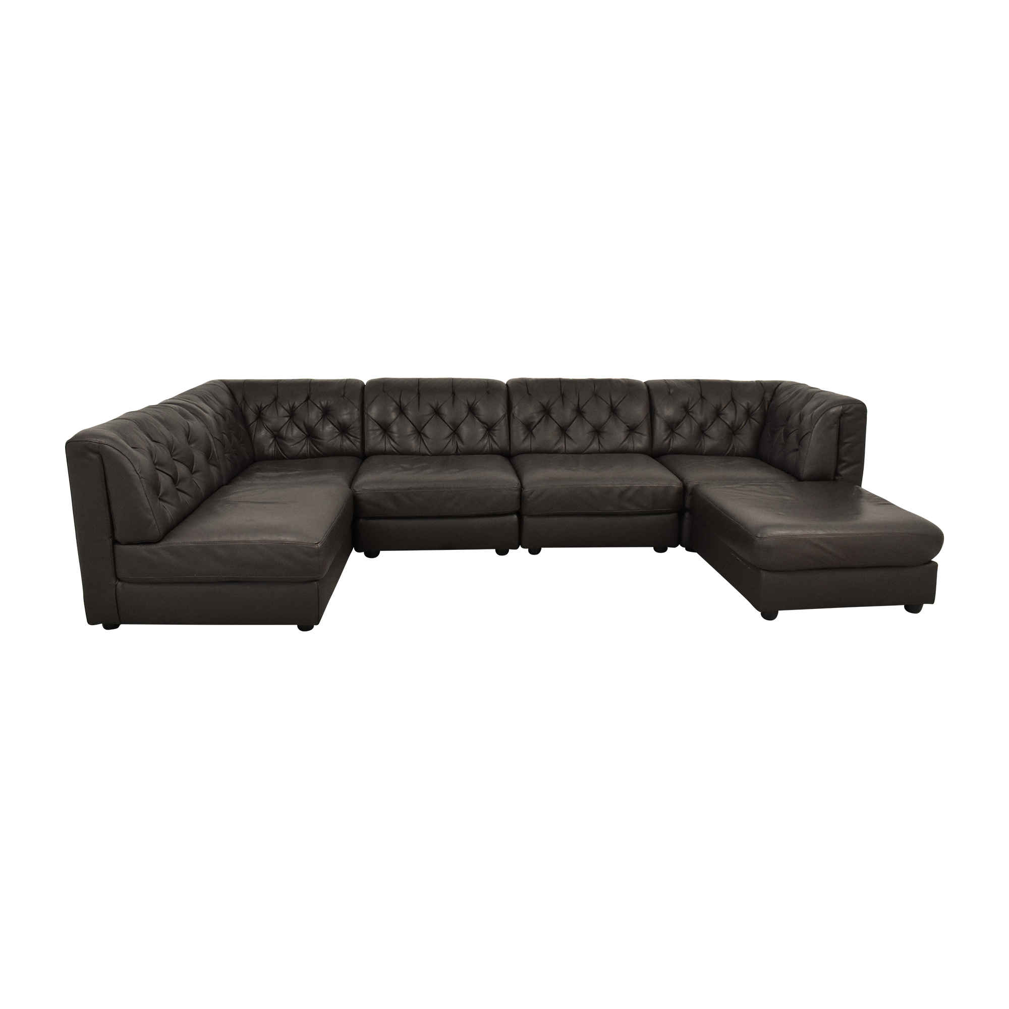 Natuzzi Natuzzi Tufted Corner Sectional with Ottoman dimensions