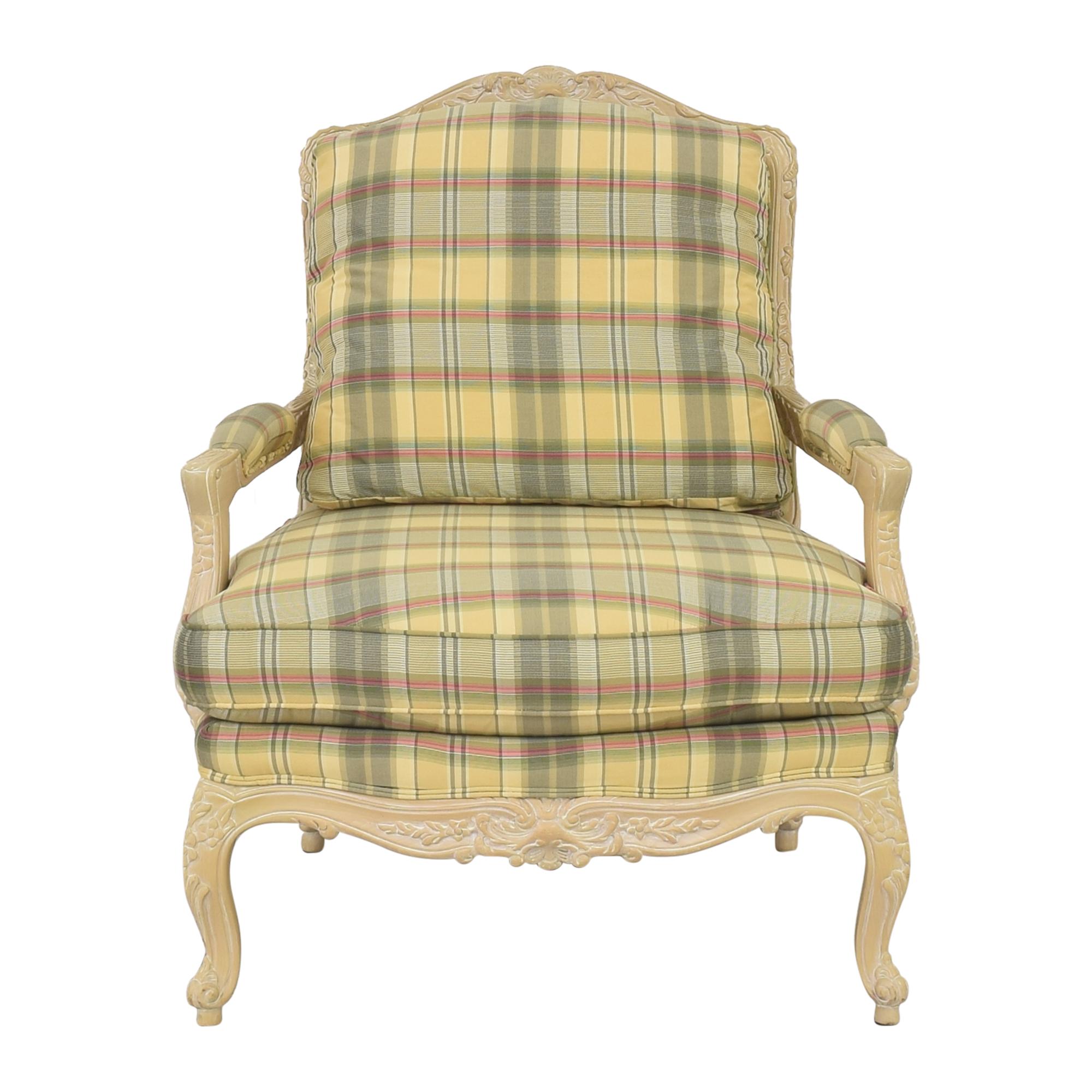 shop Sherrill Furniture Plaid Carved Chair Sherrill Furniture Accent Chairs