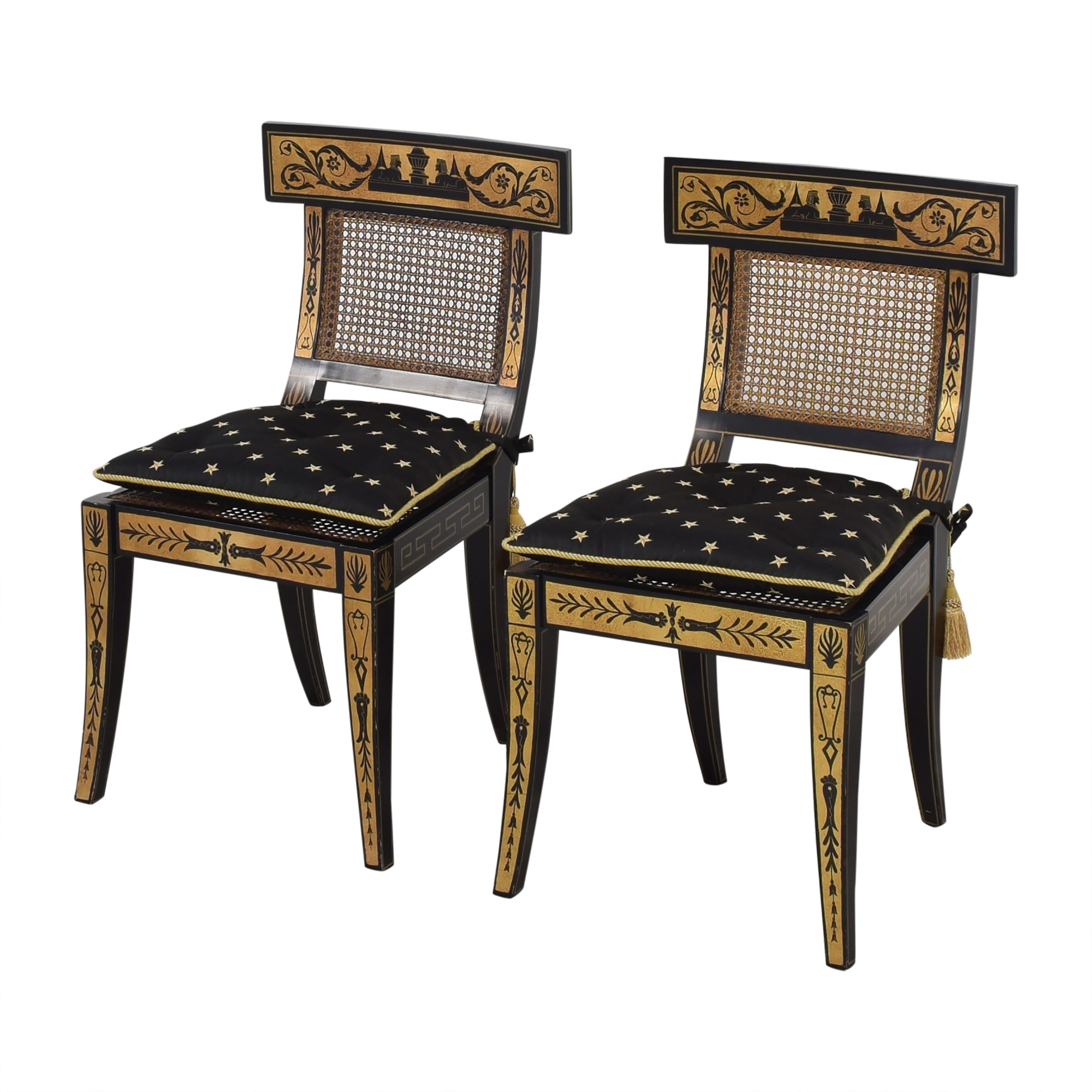 Maitland-Smith Maitland-Smith Decorative Dining Chairs with Cushions black and gold