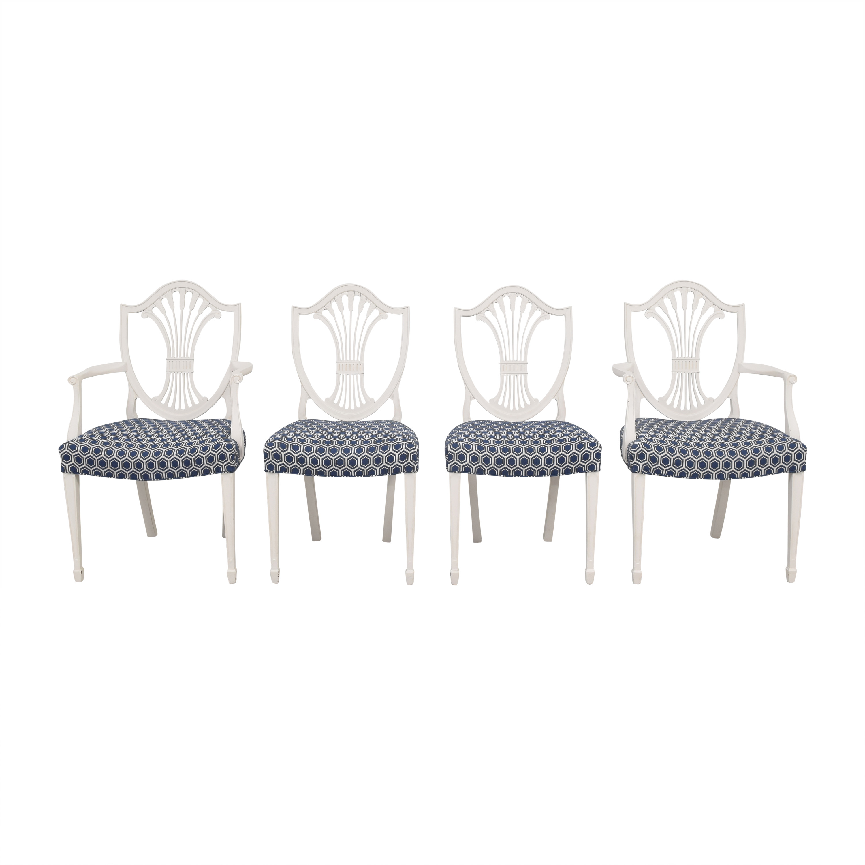 Refurbished Antique Wheat Back Dining Chairs white & blue
