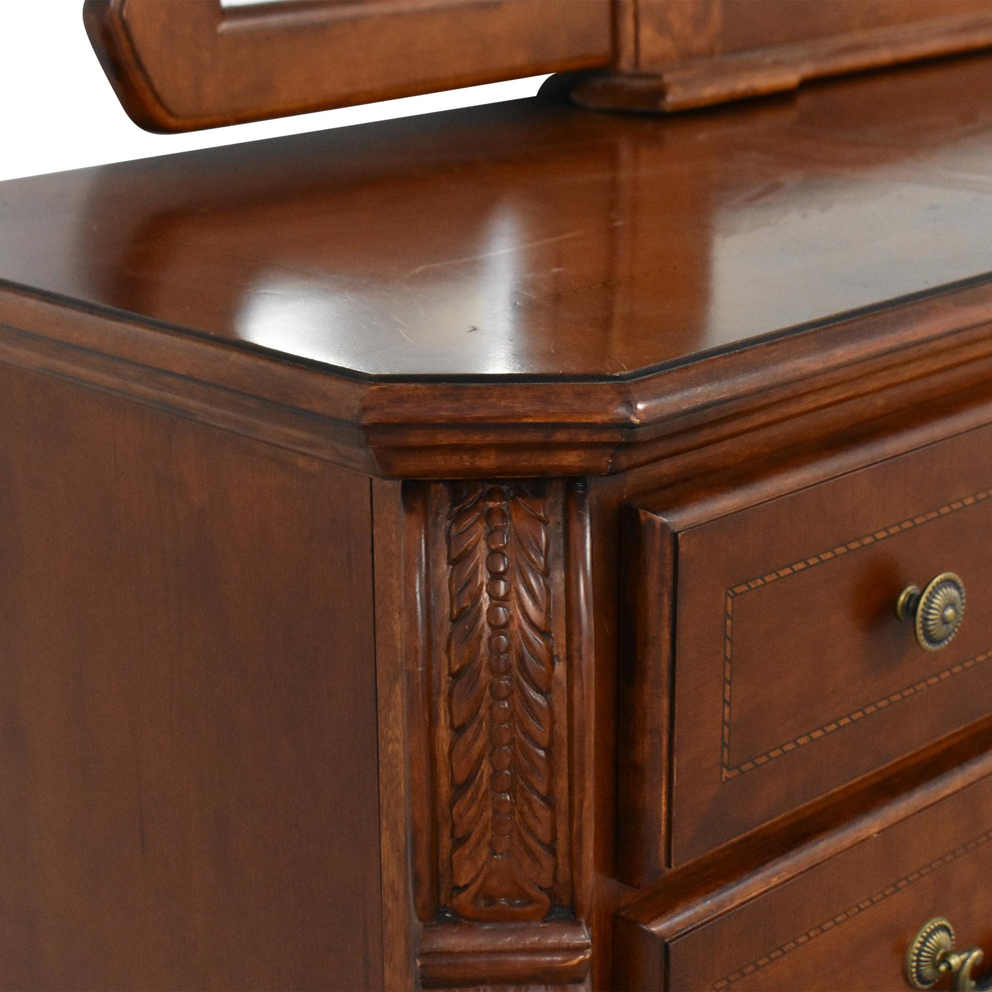 Dresser with Tri Fold Mirror Storage