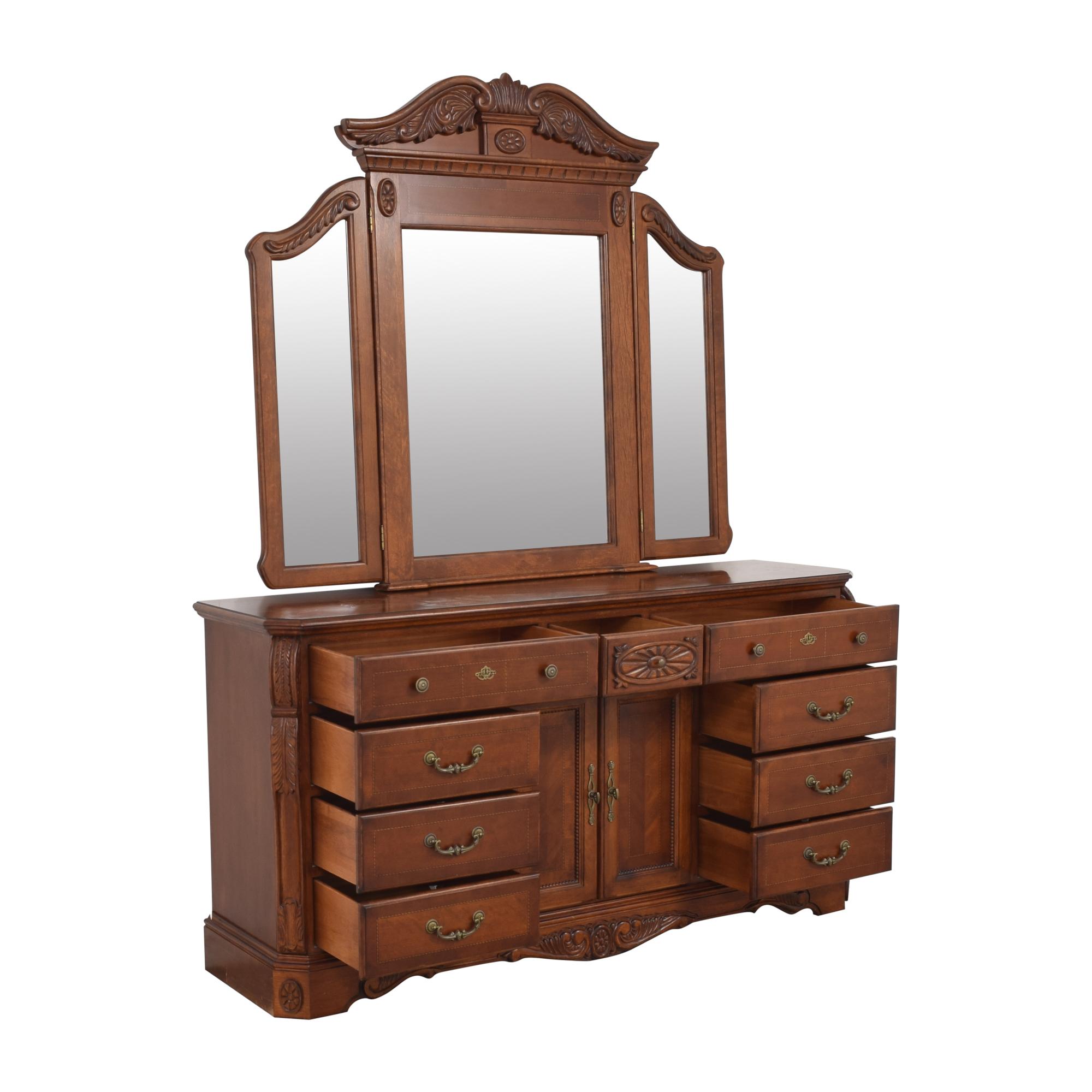 shop Dresser with Tri Fold Mirror  Storage