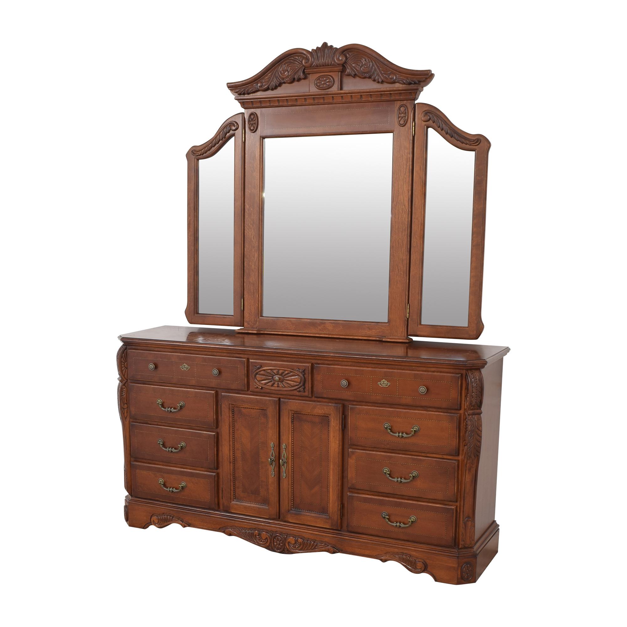 Dresser with Tri Fold Mirror / Storage