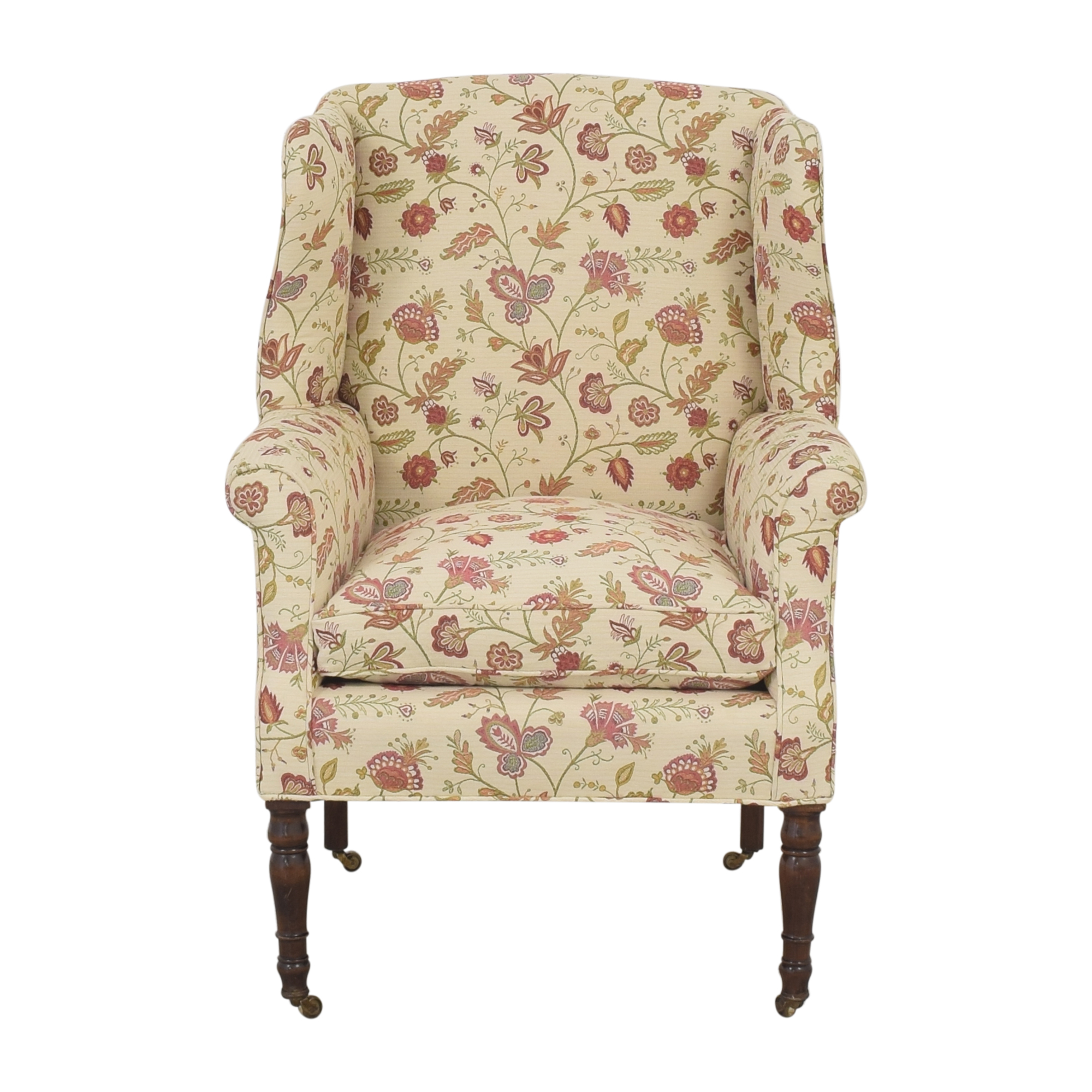 Wing Back Floral Armchair