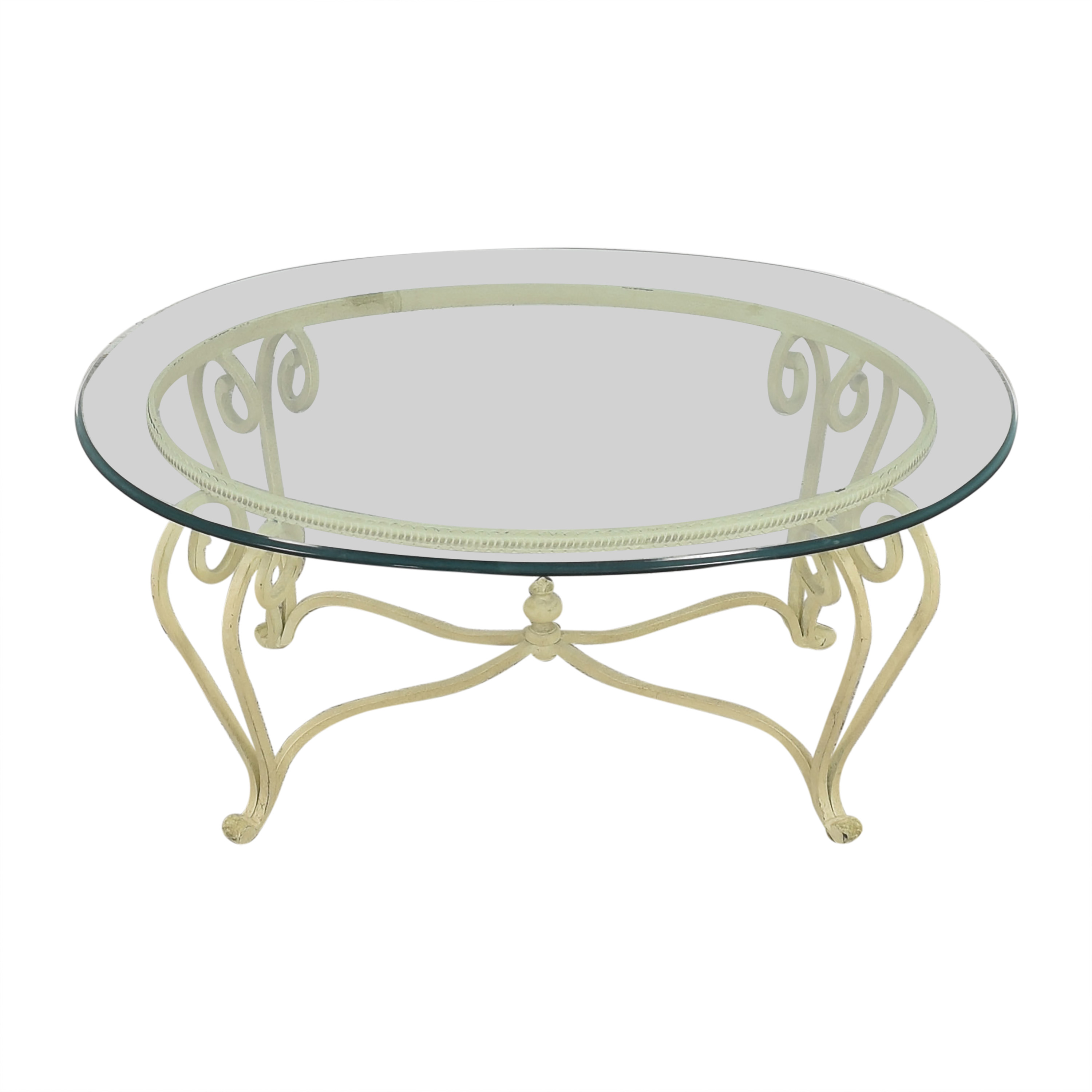 buy Ethan Allen Coffee Table with Transparent Surface Ethan Allen