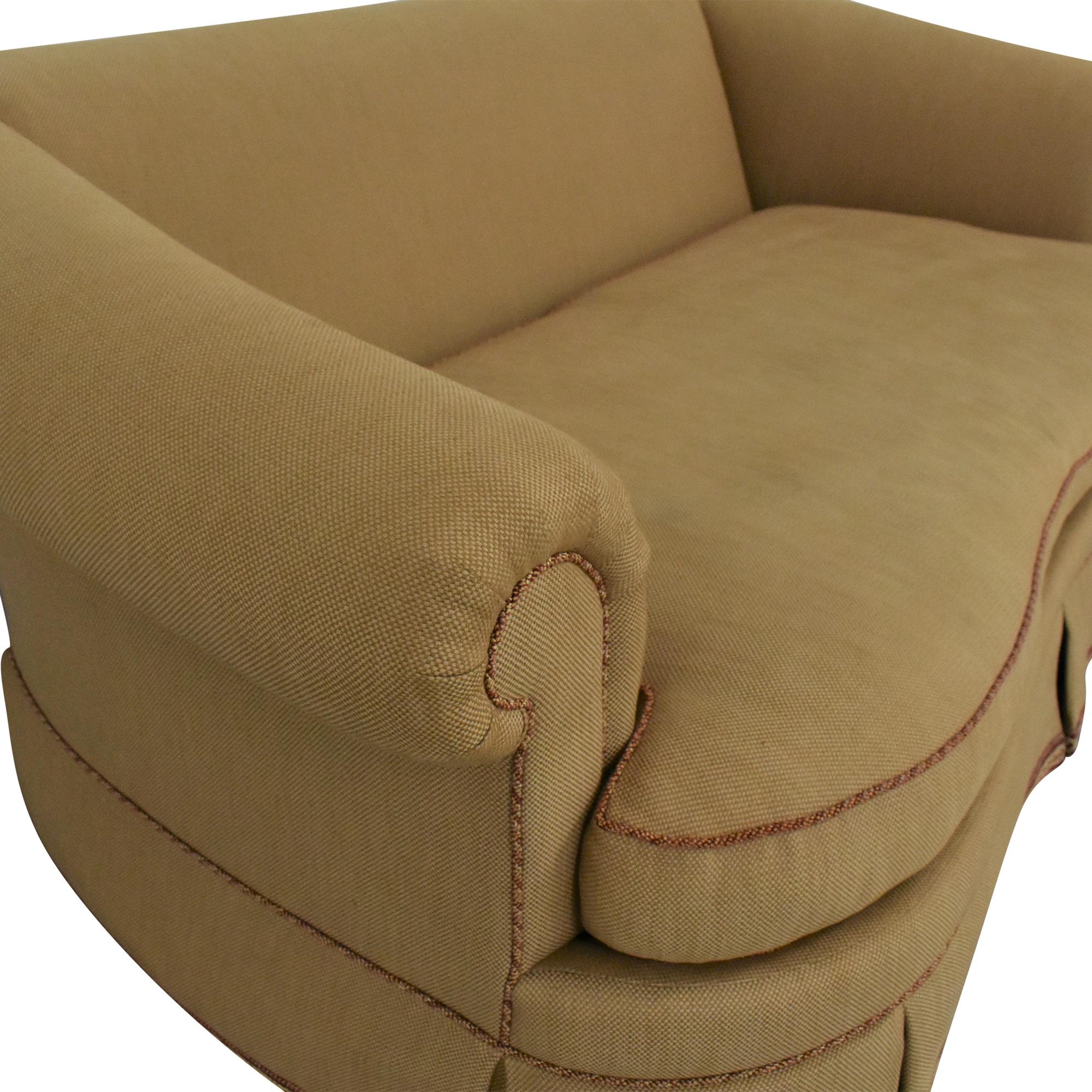 Ethan Allen Roll Arm Skirted Sofa sale