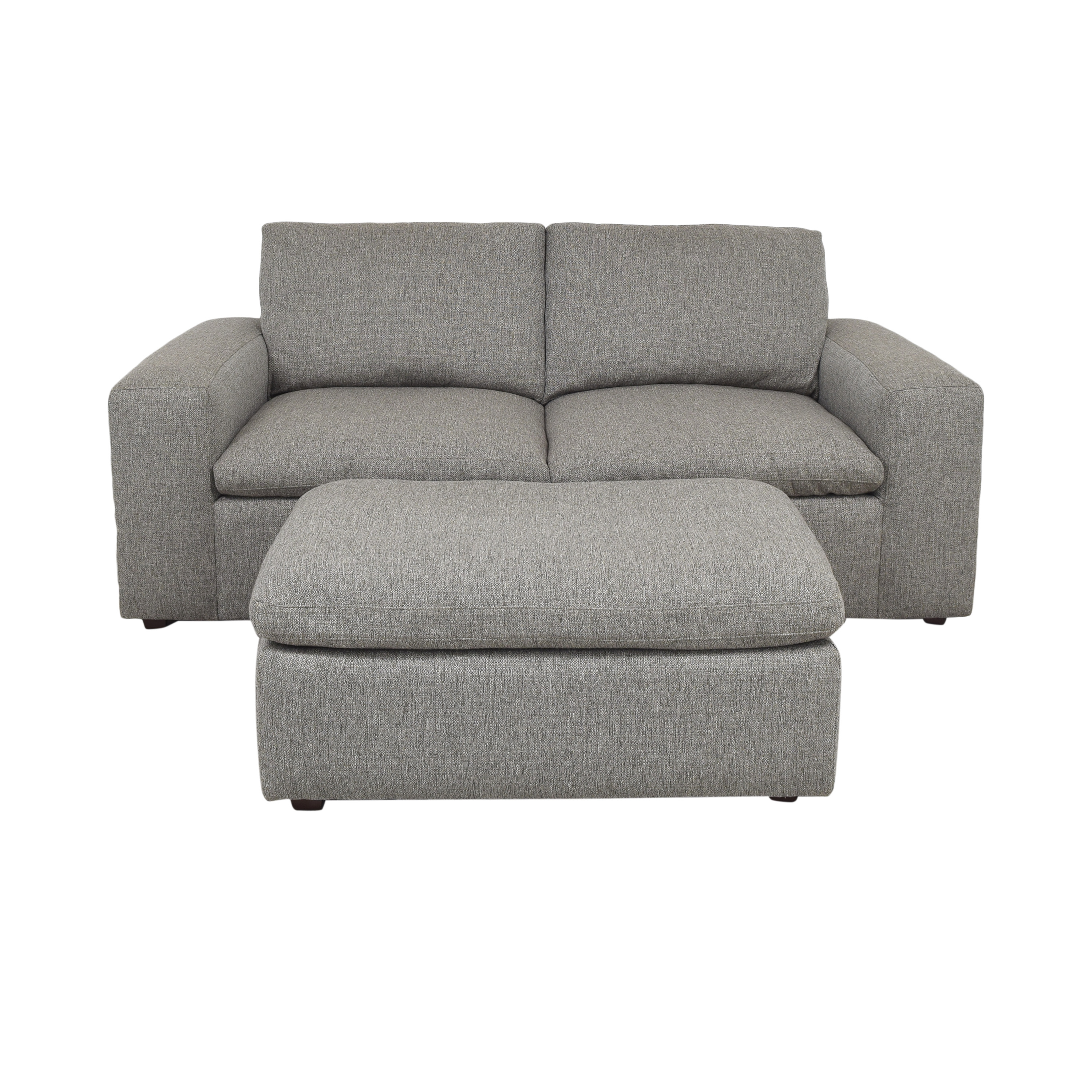 Modern Two Cushion Sofa with Ottoman second hand