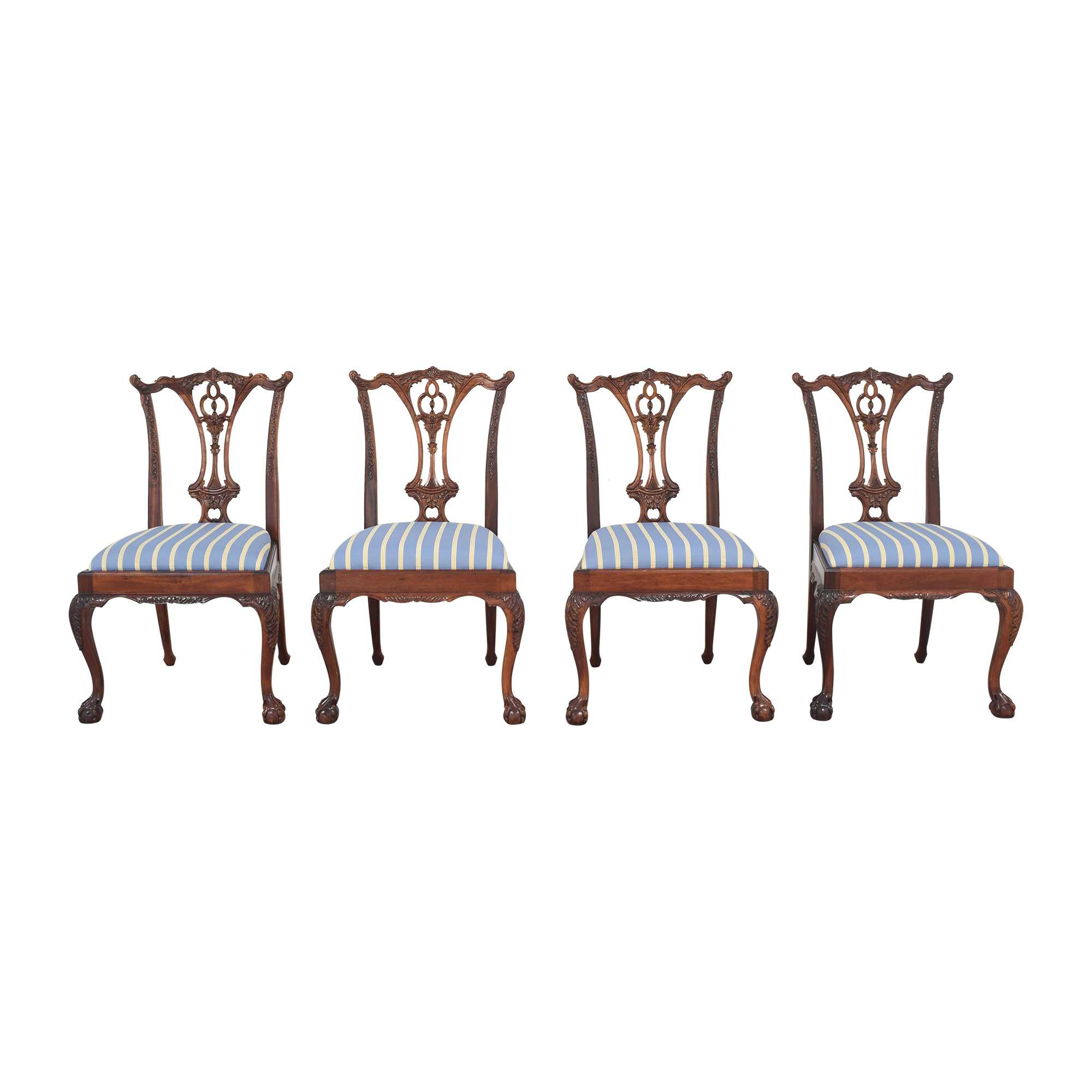 Striped Chippendale Dining Chairs