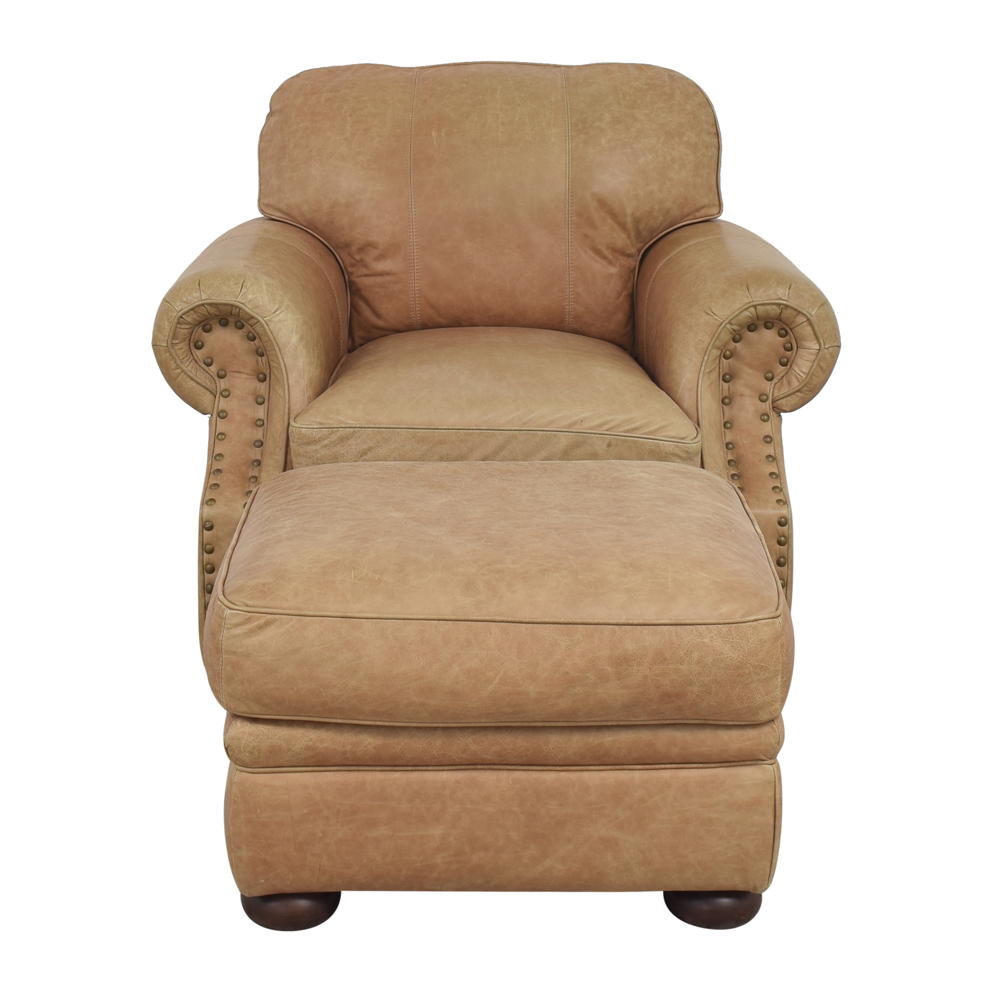 Ethan Allen Ethan Allen Roll Arm Chair with Ottoman dimensions