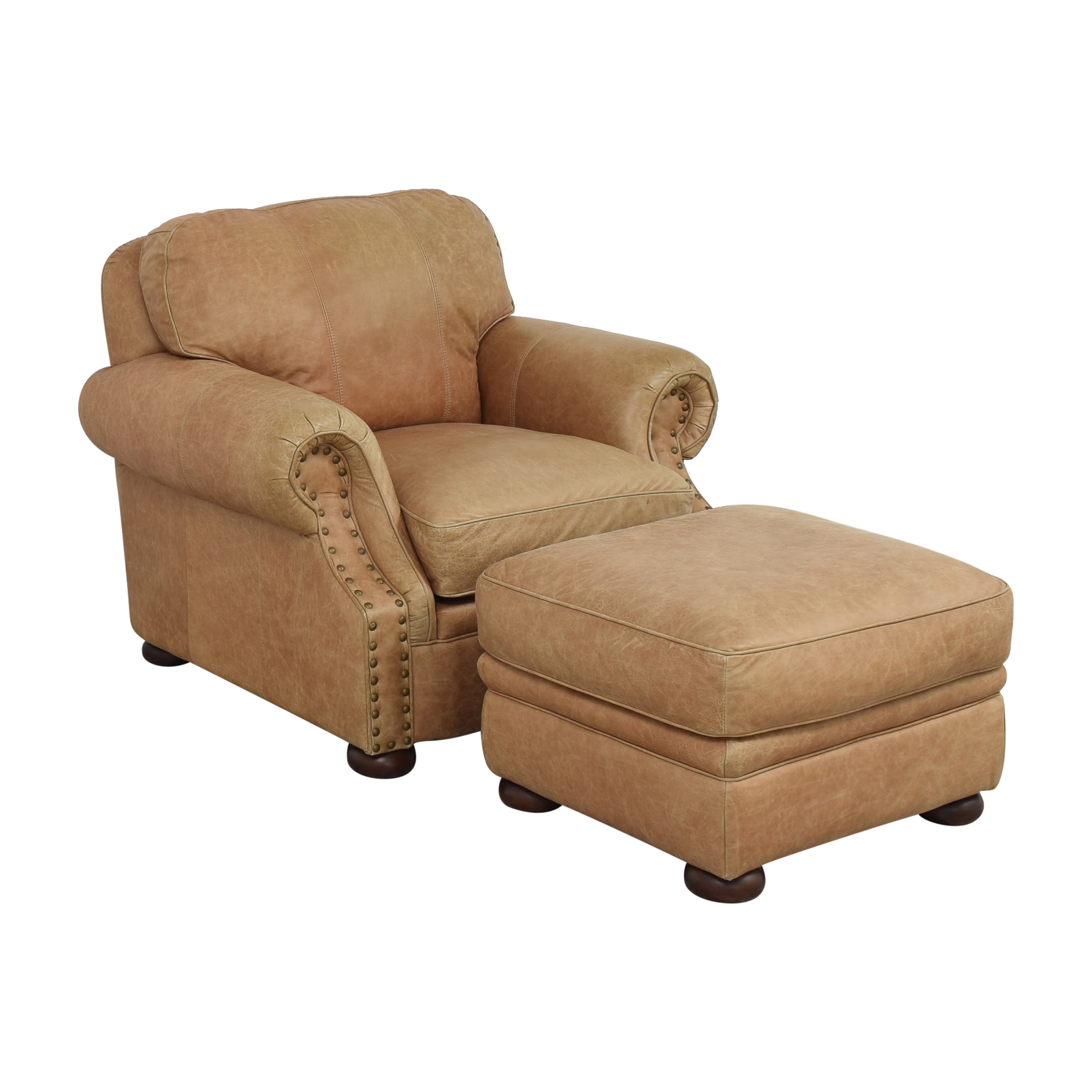 Ethan Allen Roll Arm Chair with Ottoman / Chairs