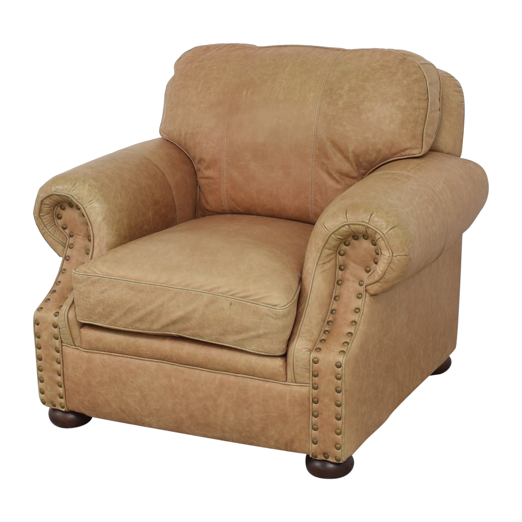 shop Ethan Allen Roll Arm Chair with Ottoman Ethan Allen Accent Chairs