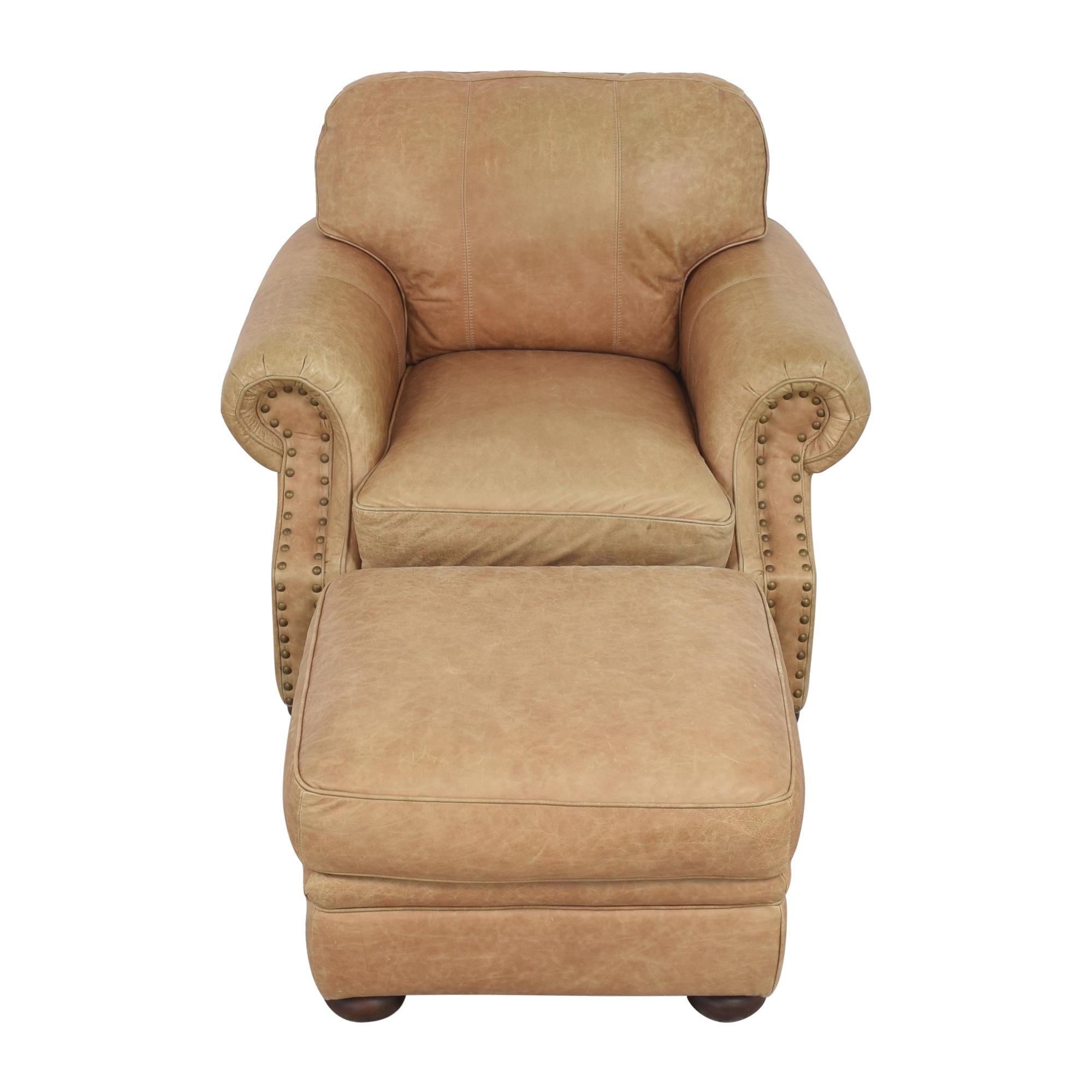 buy Ethan Allen Roll Arm Chair with Ottoman Ethan Allen