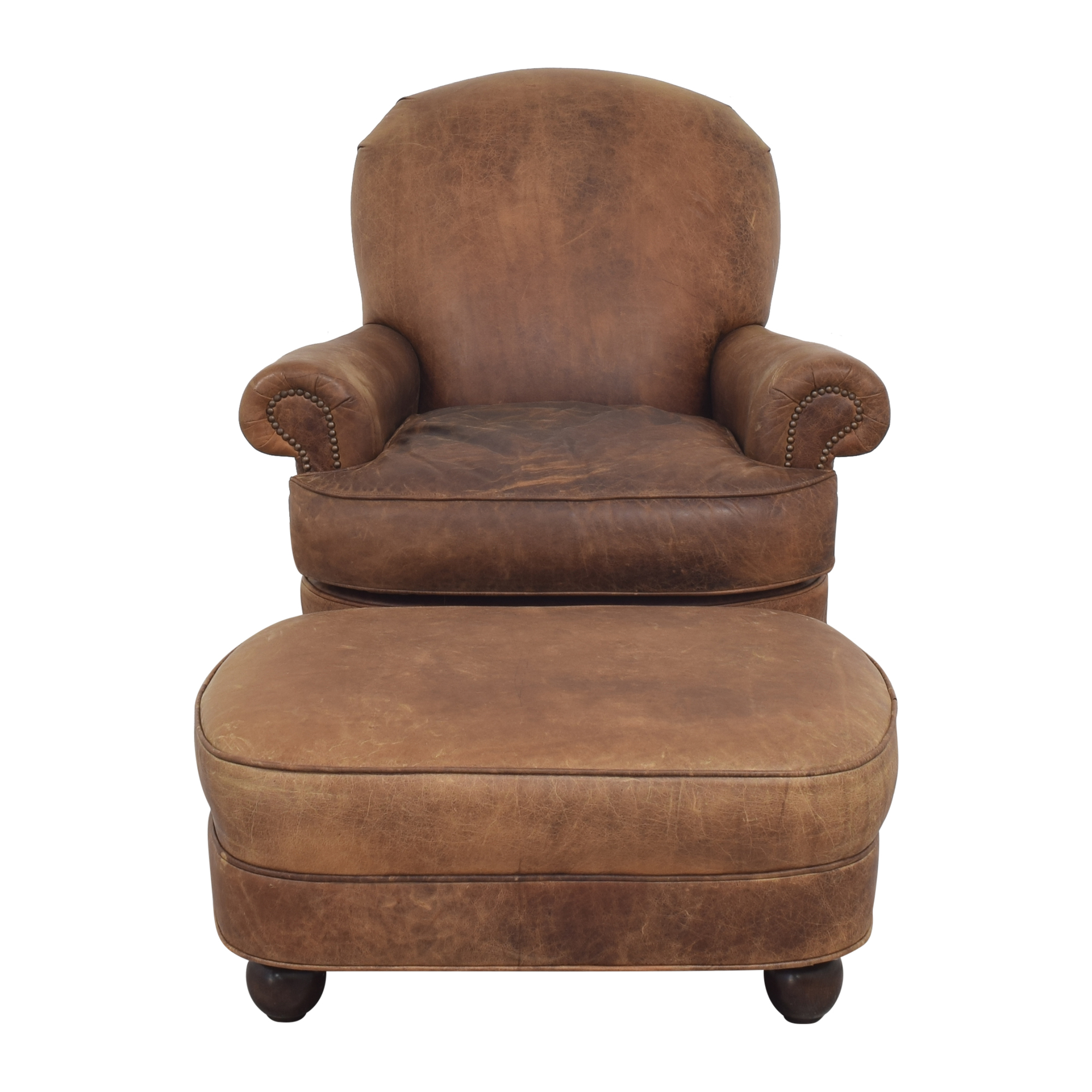 buy  Distressed Club Chair with Ottoman online