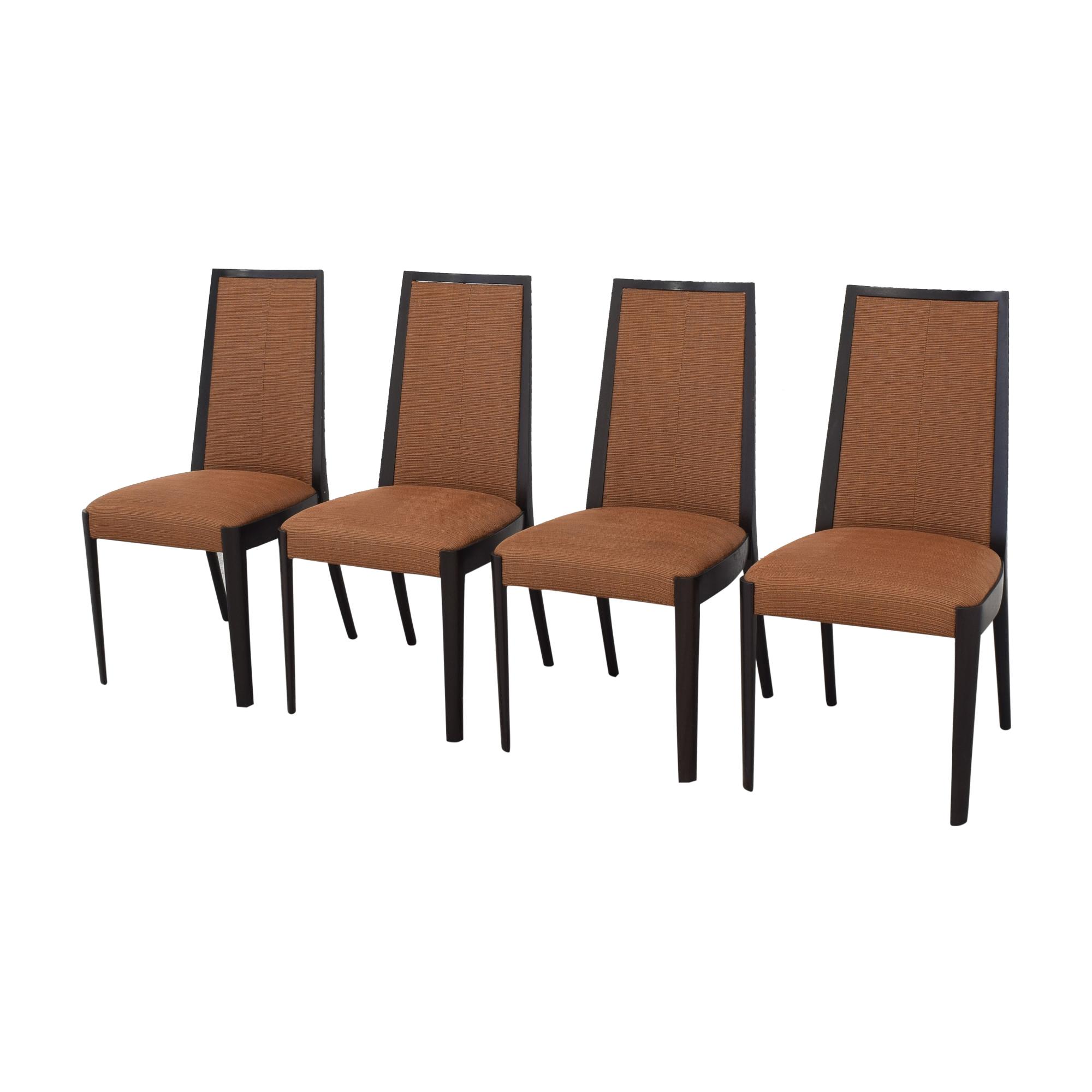 High Back Dining Chairs orange & dark brown