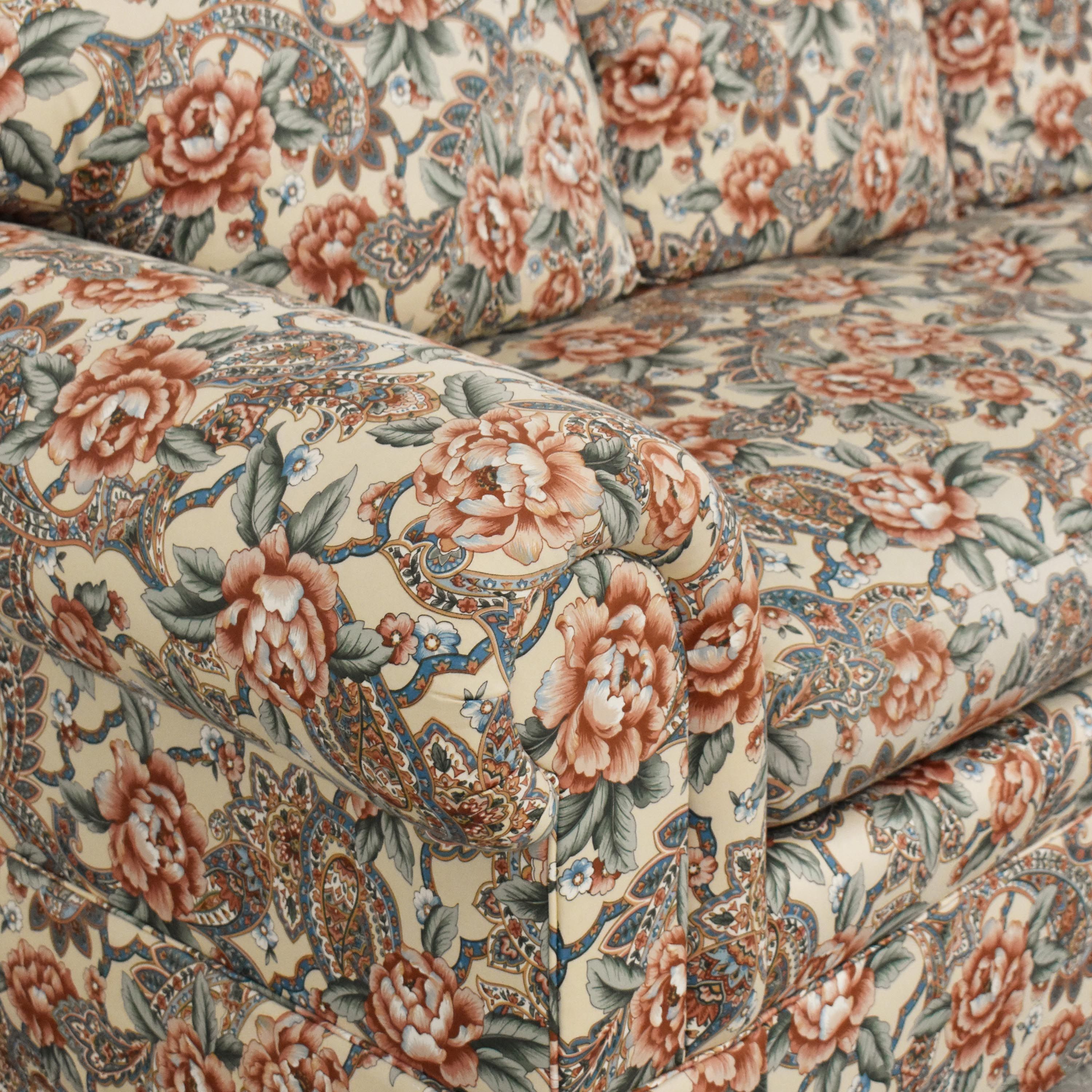 EJ Victor EJ Victor Floral and Paisley Skirted Sofa Multi