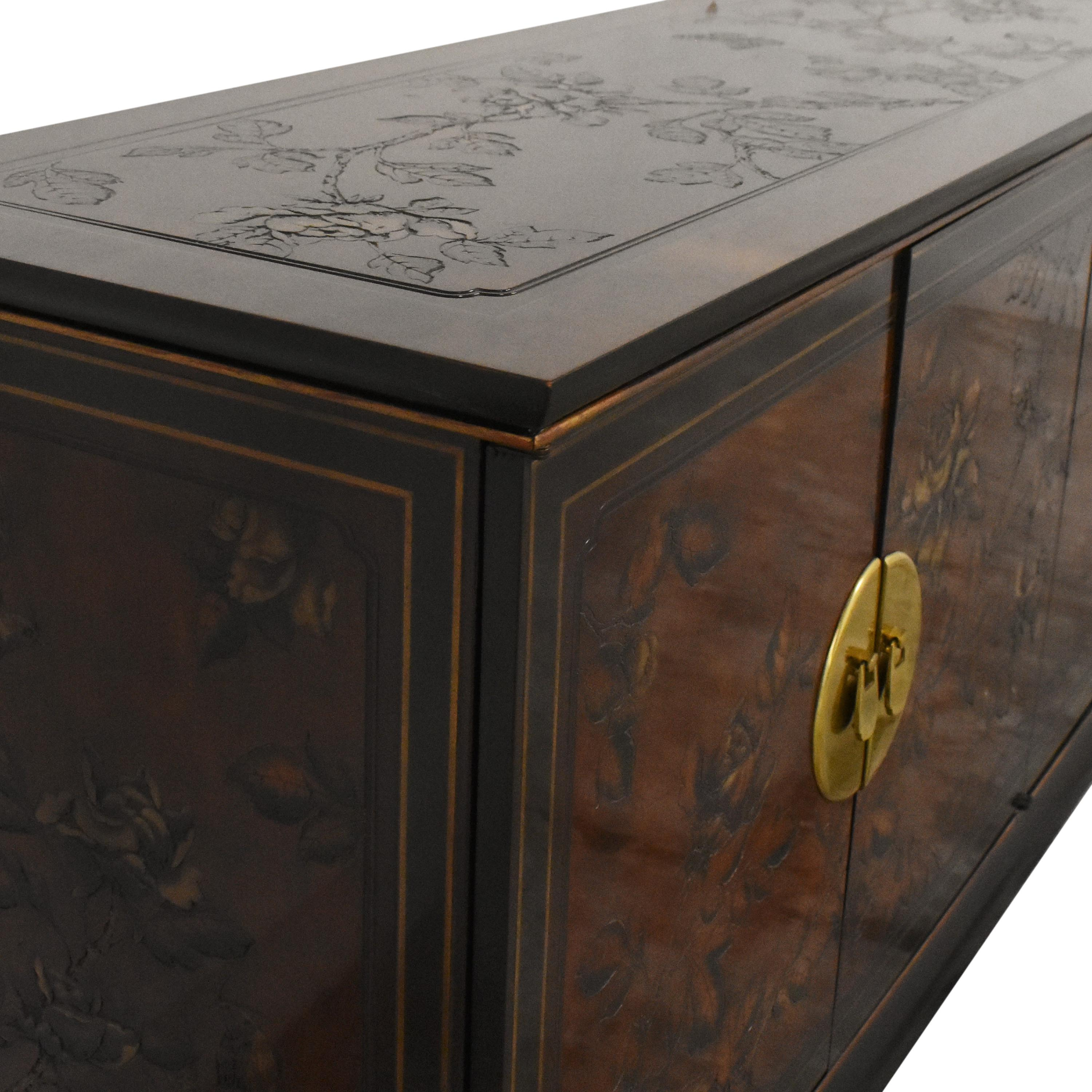 Drexel Heritage Drexel Heritage Chinoiserie Buffet Sideboard Brown and gold