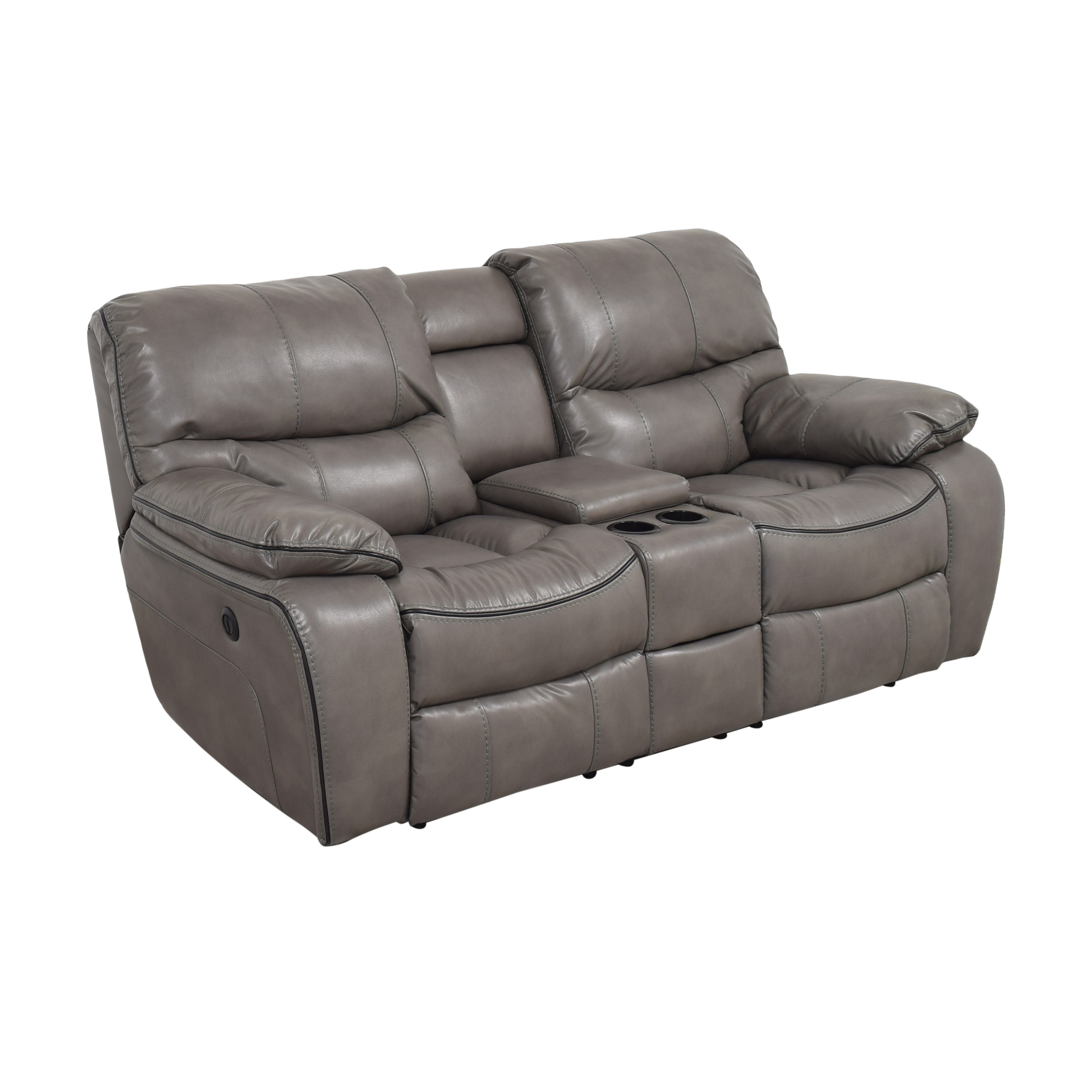 Bob's Discount Furniture Bob's Avenger Power Reclining Console Loveseat for sale