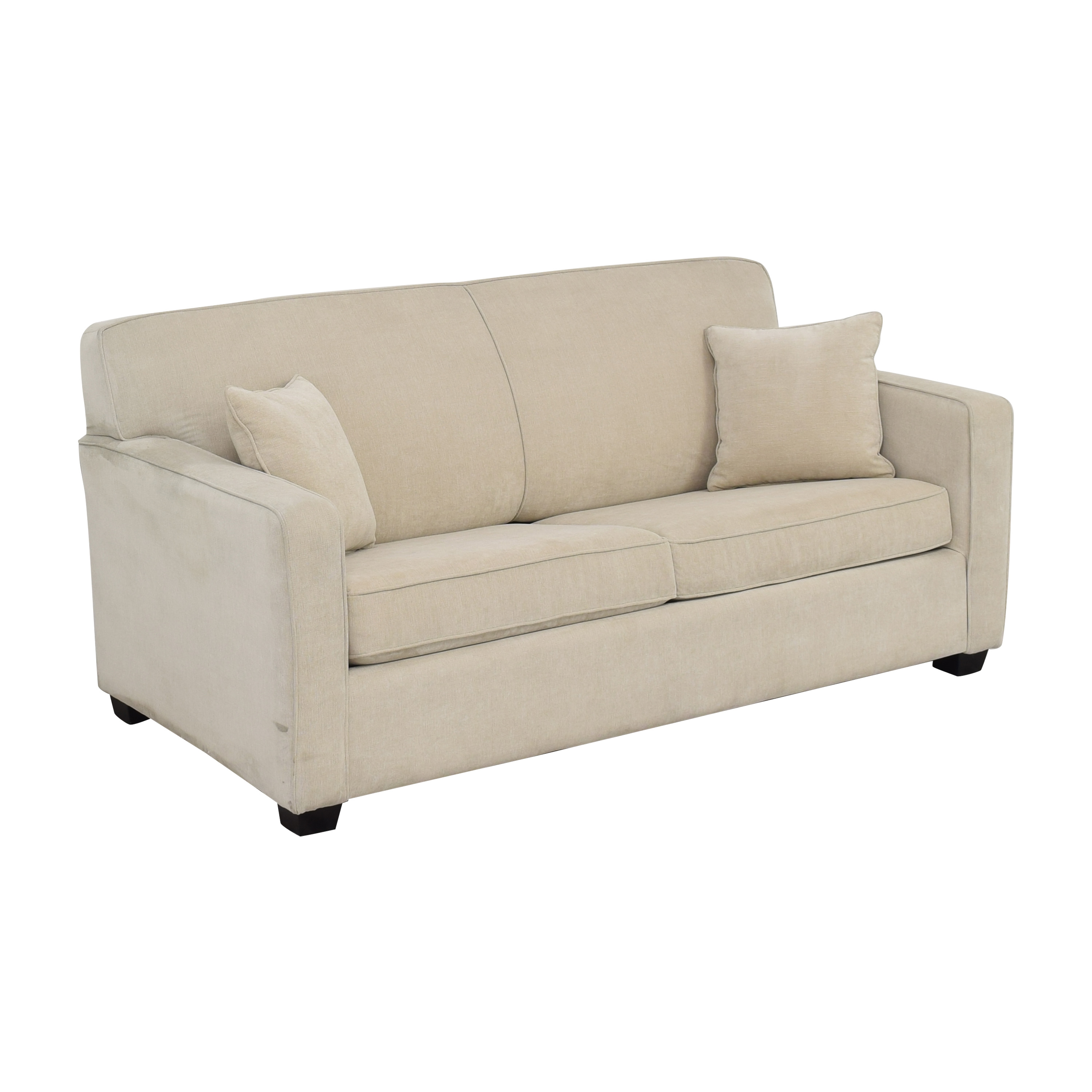 Two Cushion Sleeper Sofa with Pillows second hand