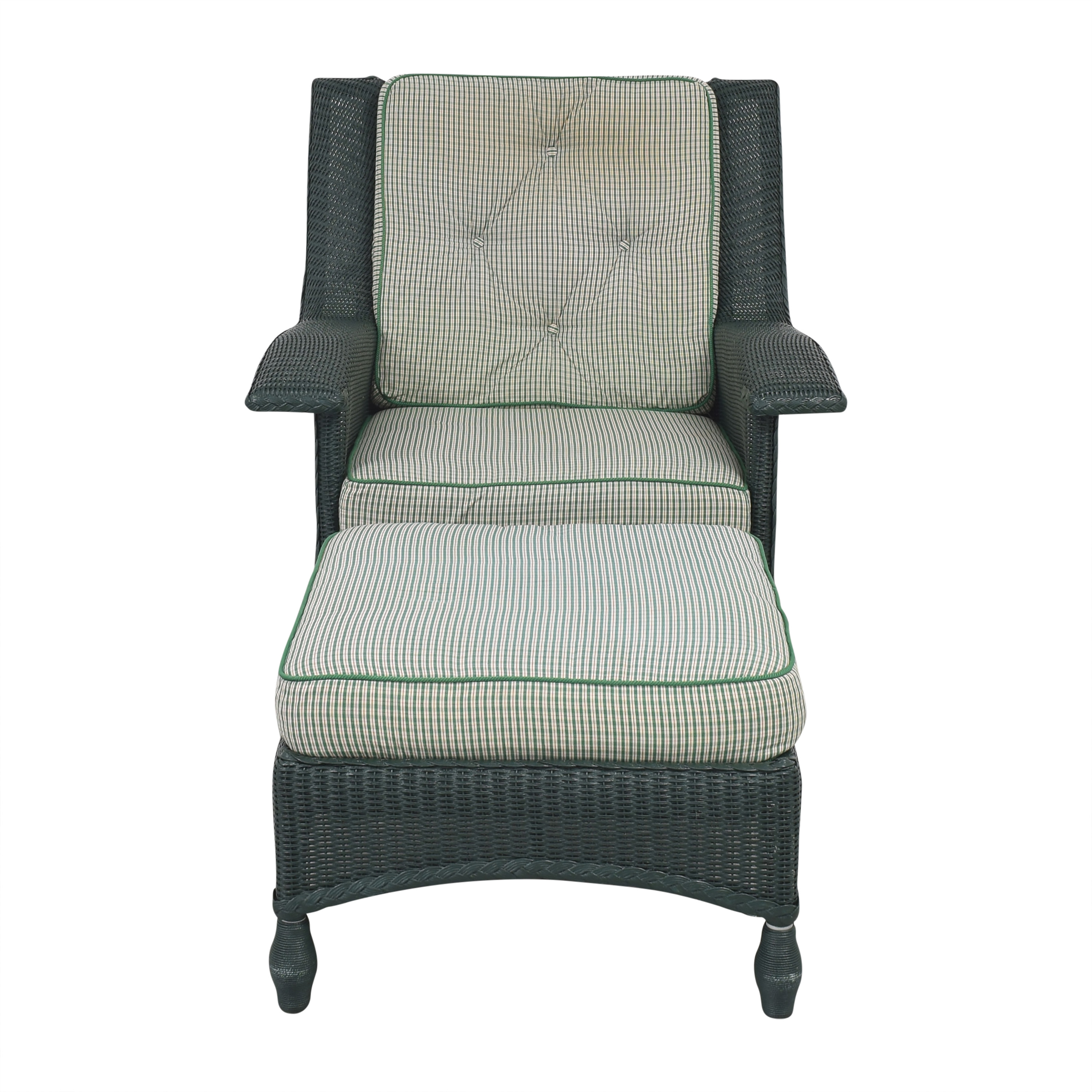 Lloyd Flanders Lloyd Flanders Wicker Chair with Ottoman for sale