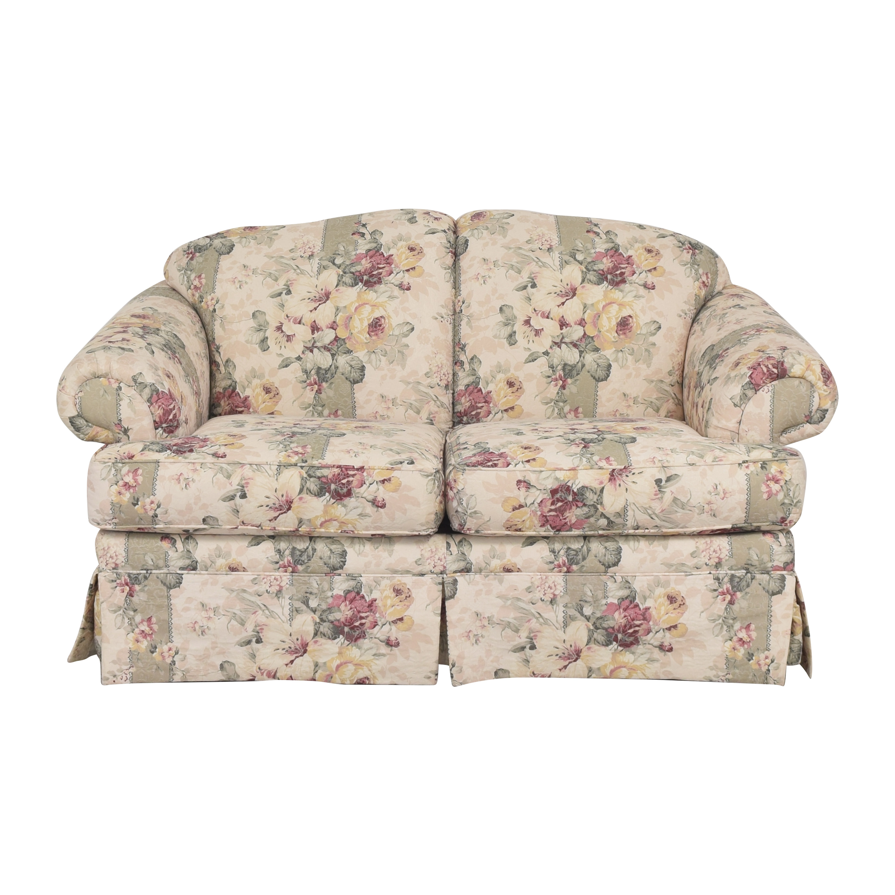 Rowe Furniture Rowe Furniture Floral Roll Arm Loveseat