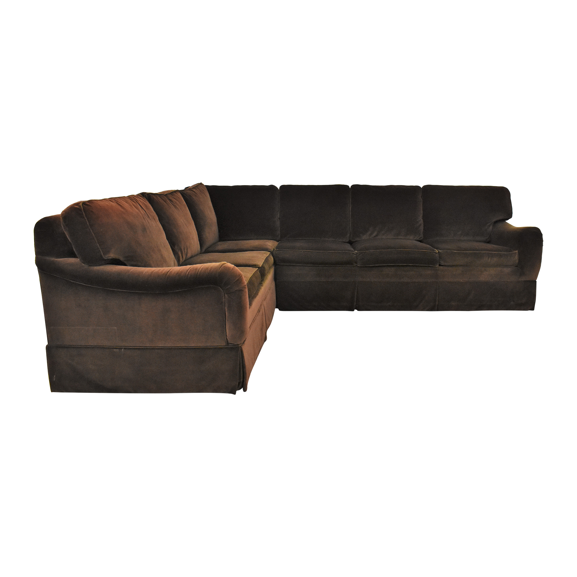 Ethan Allen Ethan Allen L Shaped Sectional Sofa brown