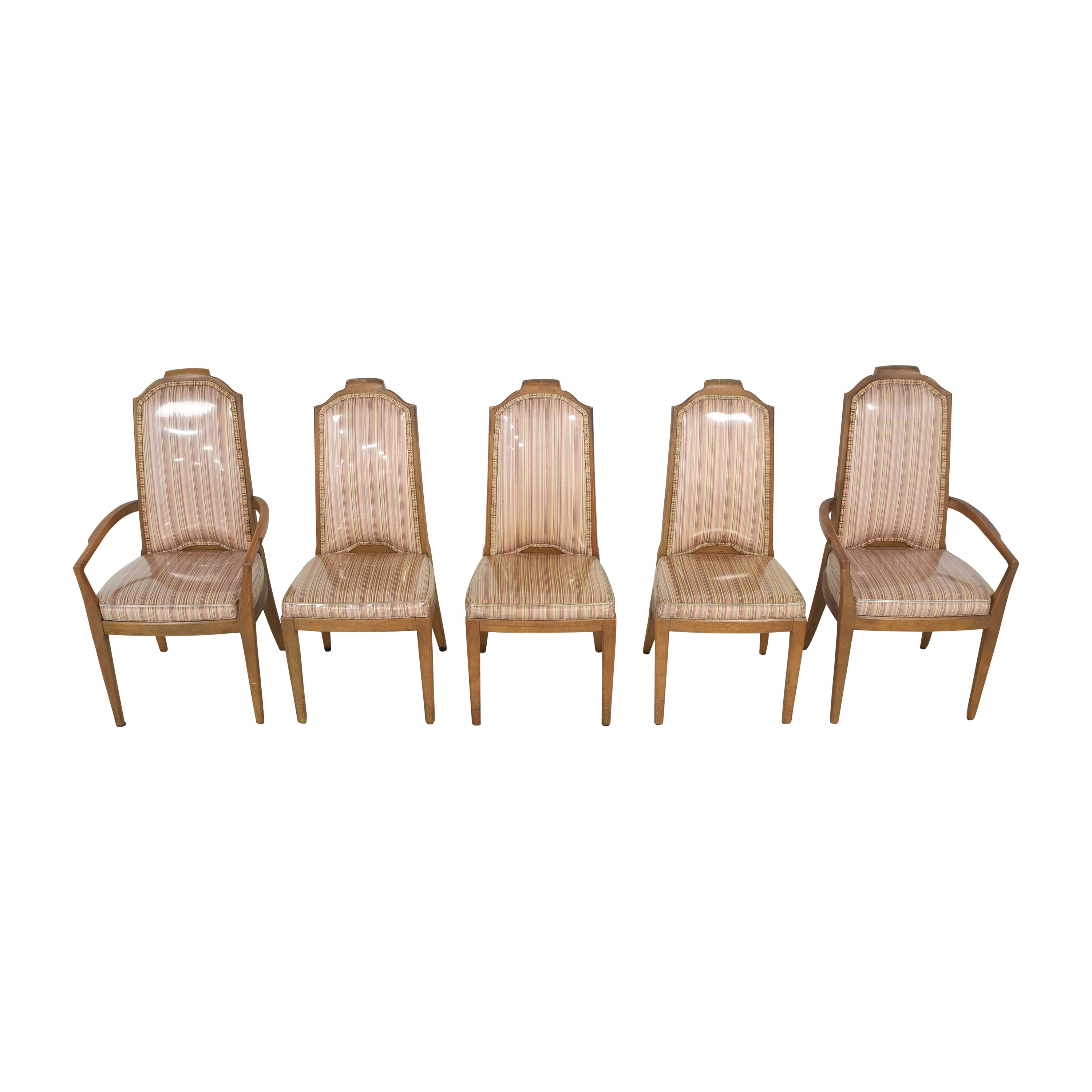 Drexel Drexel Stripe Upholstered Dining Chairs second hand