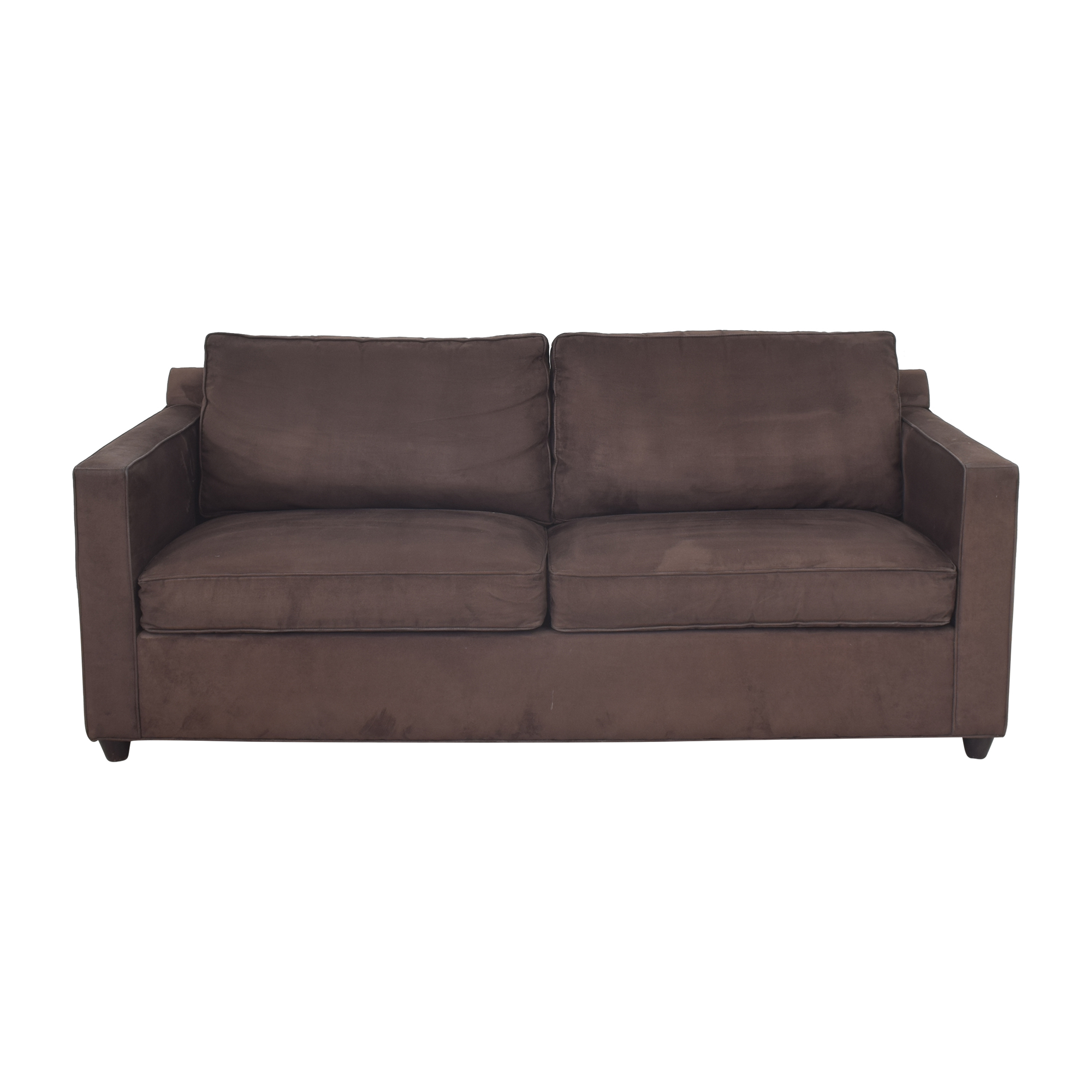 Crate & Barrel Crate & Barrel Two Cushion Sofa with Storage Ottoman dimensions