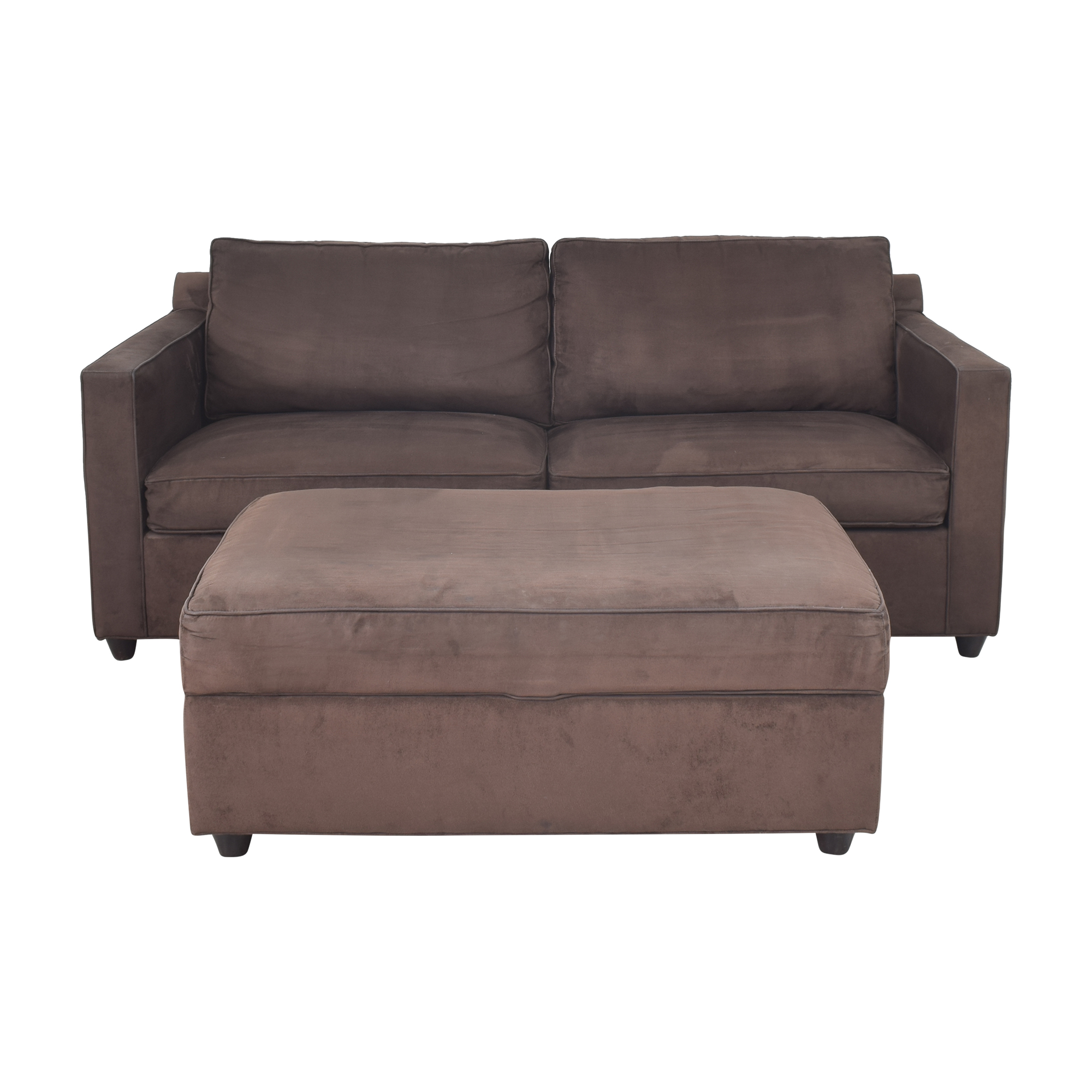 Crate & Barrel Crate & Barrel Two Cushion Sofa with Storage Ottoman coupon