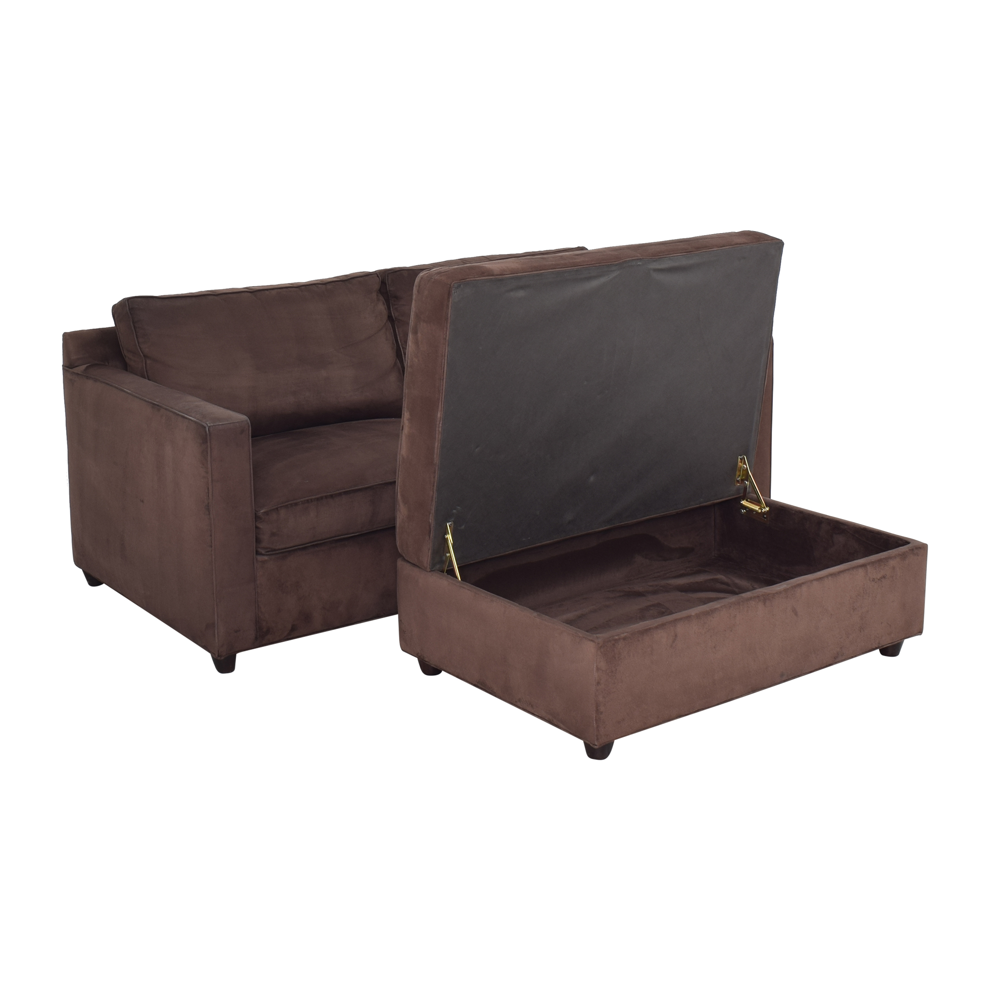 buy Crate & Barrel Two Cushion Sofa with Storage Ottoman Crate & Barrel Classic Sofas
