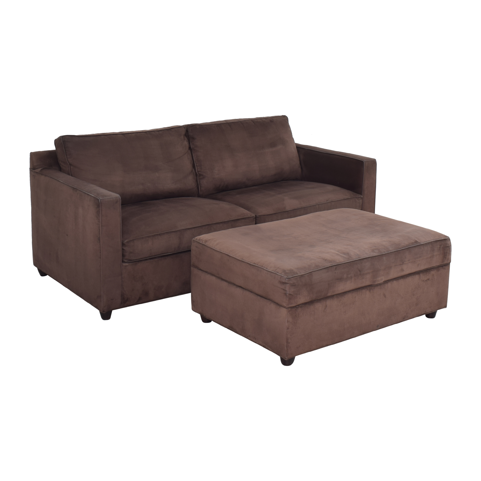 Crate & Barrel Crate & Barrel Two Cushion Sofa with Storage Ottoman brown