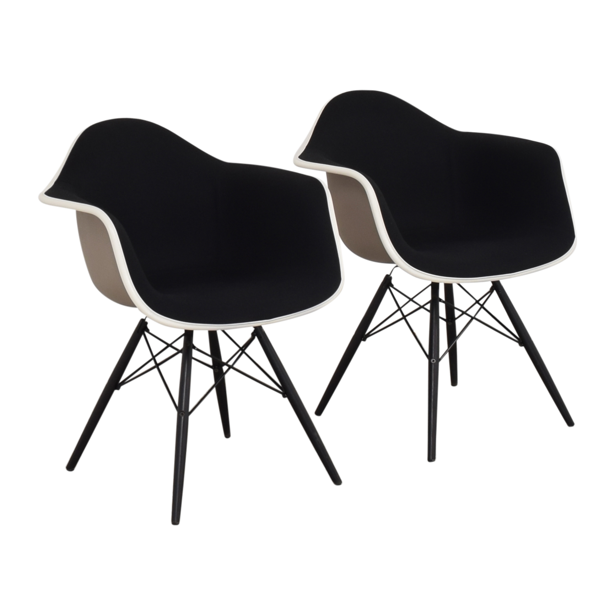 Herman Miller Herman Miller Eames Molded Arm Chairs black and white