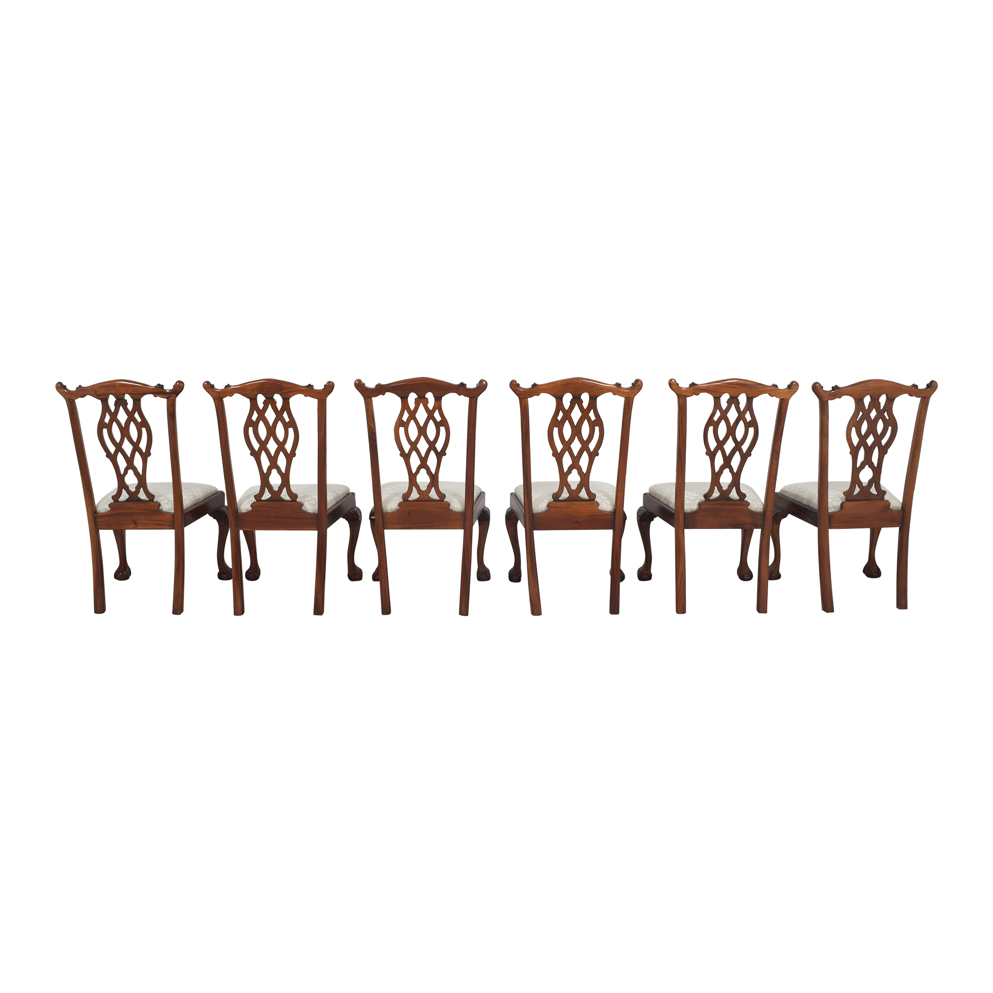 Upholstered Dining Chairs brown and ivory