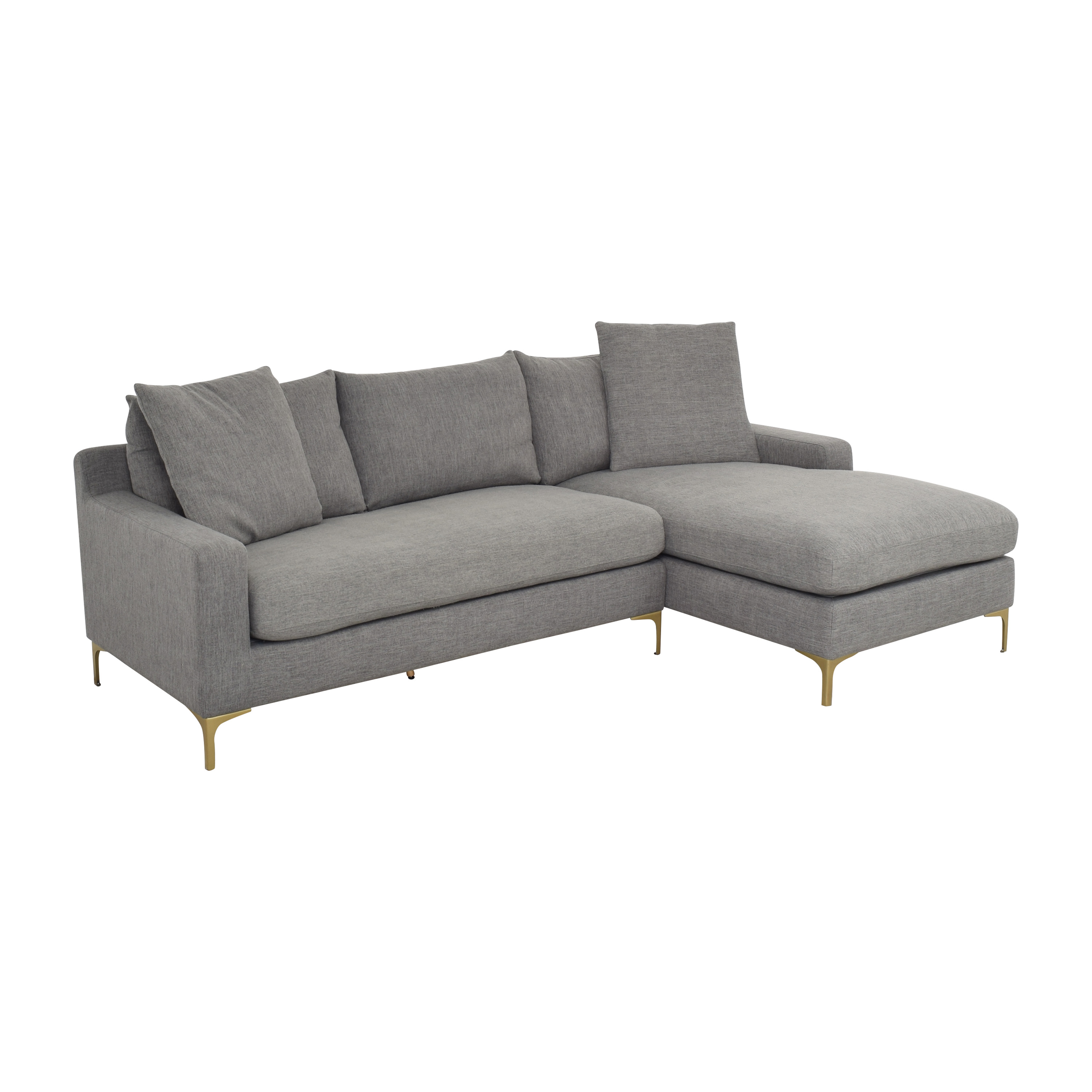 Interior Define Interior Define Sloan Sectional Sofa with Chaise gray