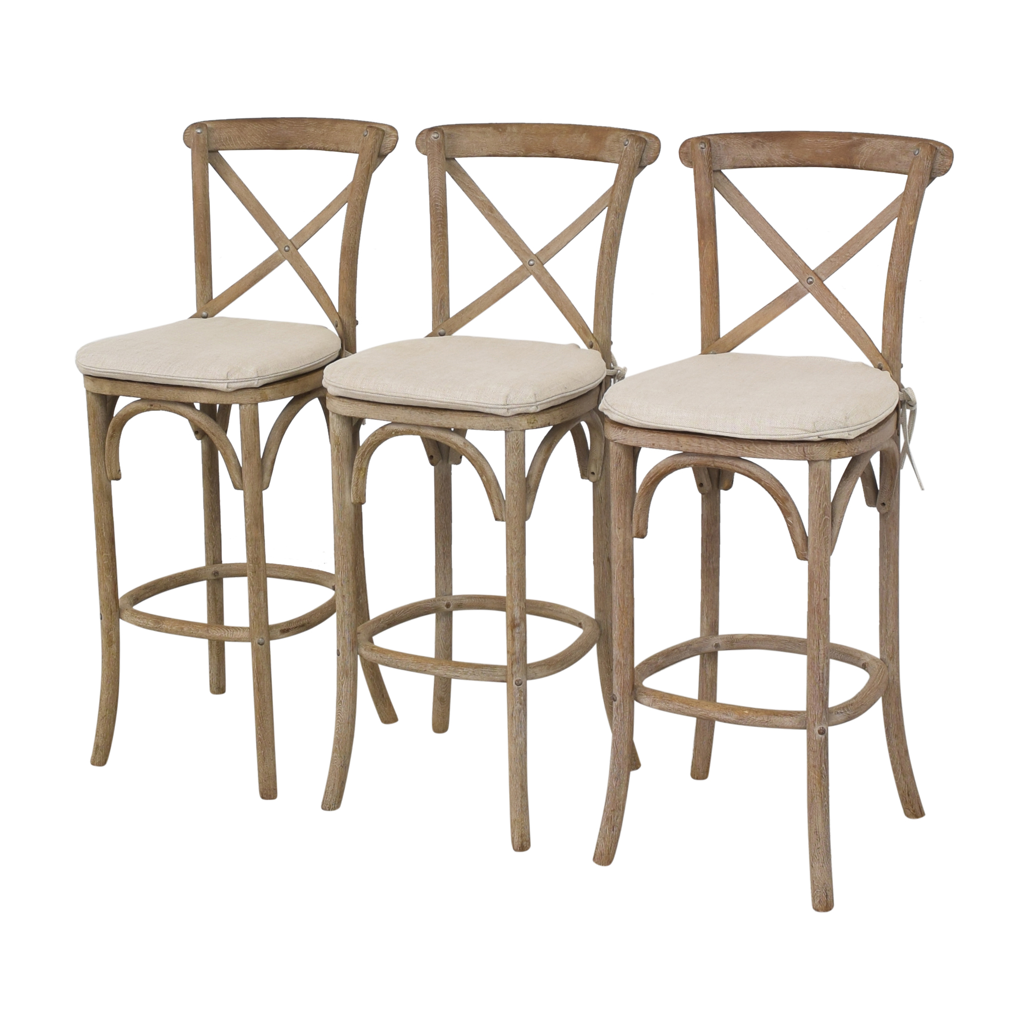 Restoration Hardware Restoration Hardware Madeleine Armless Bar Stools light brown and beige