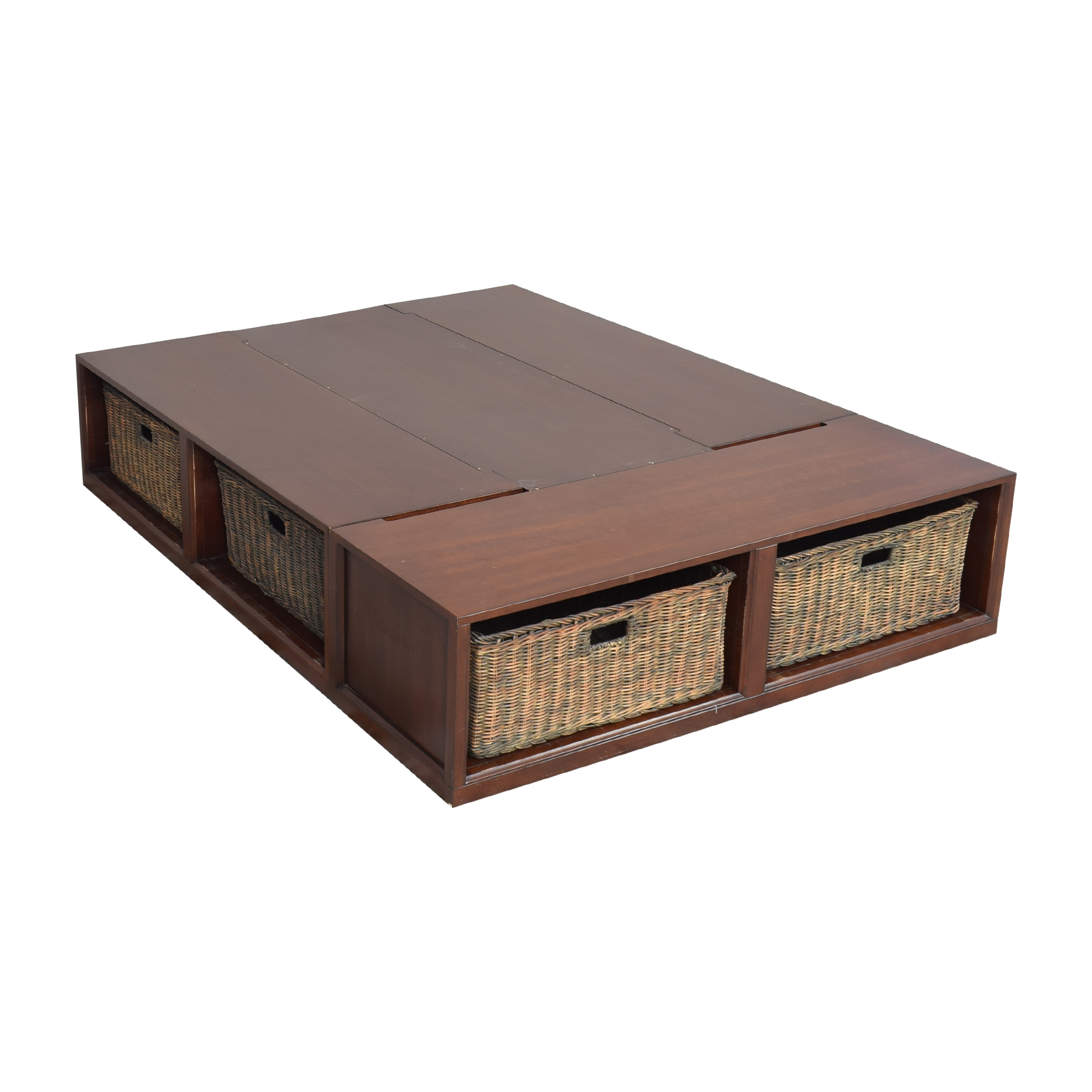 Pottery Barn Pottery Barn Stratton Storage Queen Platform Bed with Baskets dimensions