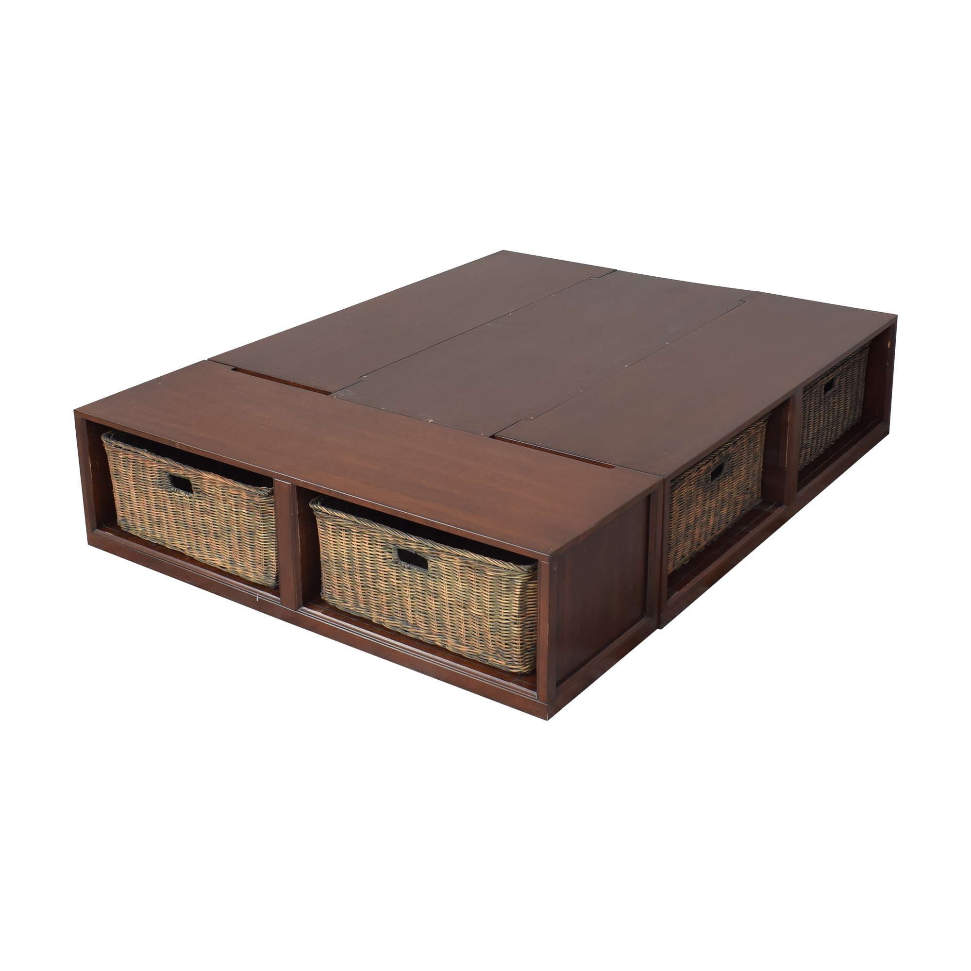 shop Pottery Barn Pottery Barn Stratton Storage Queen Platform Bed with Baskets online