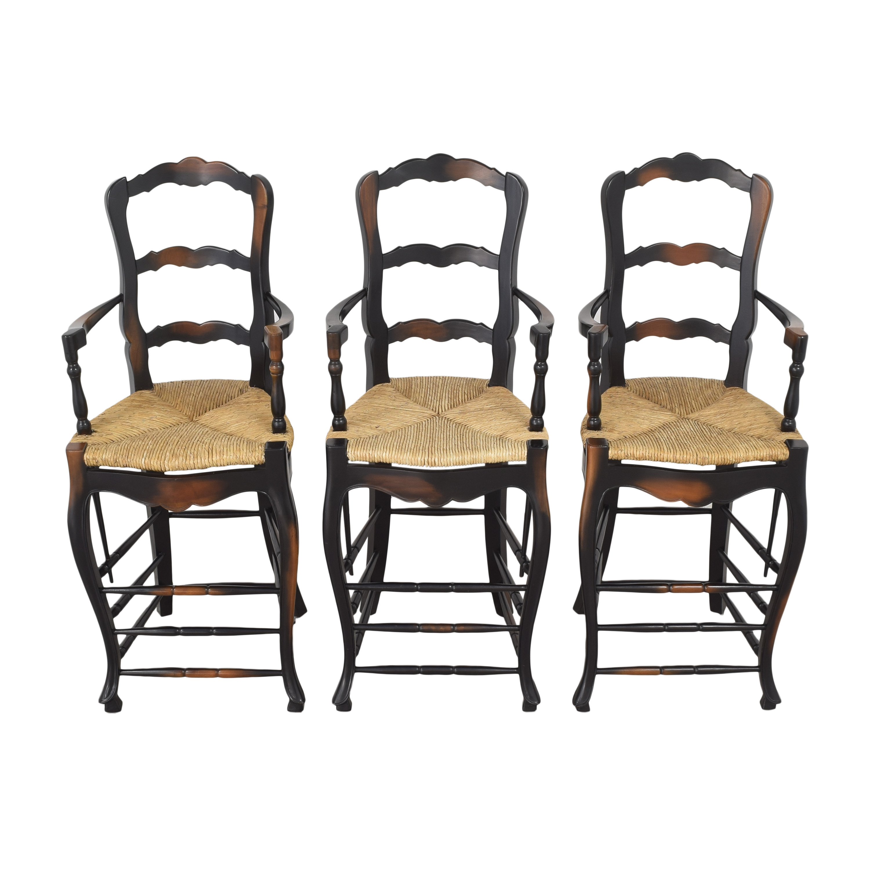 French Country Ladderback Stools black and brown