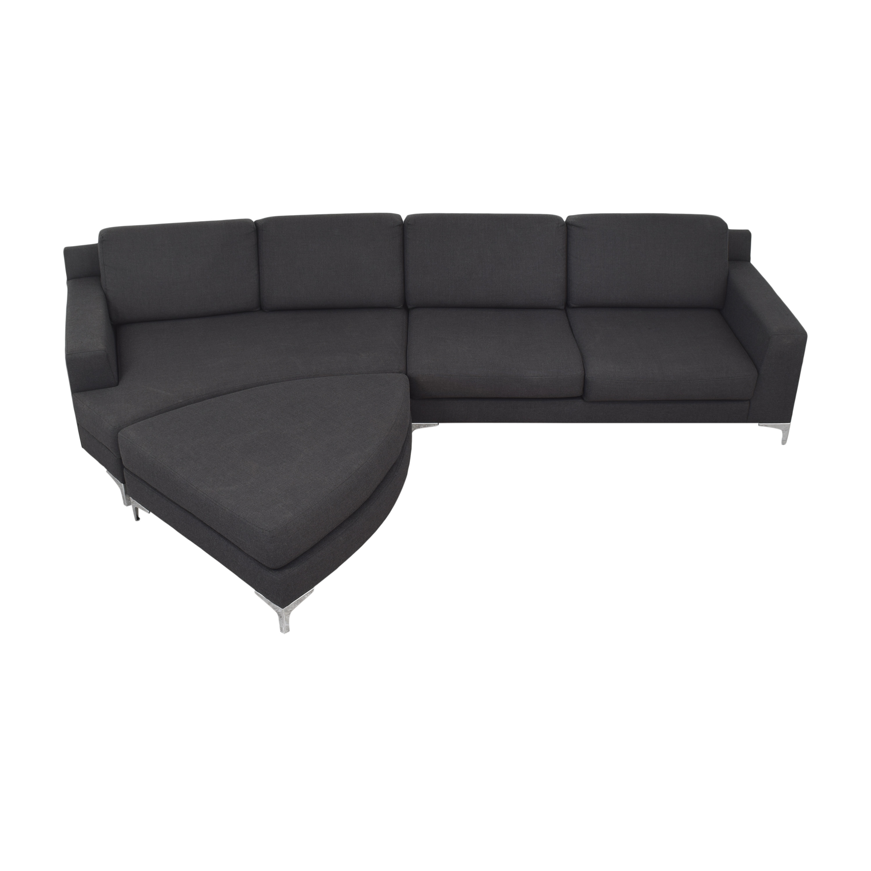 Lazzoni Lazzoni Mid Century Modern Sectional Sofa with Ottoman nyc