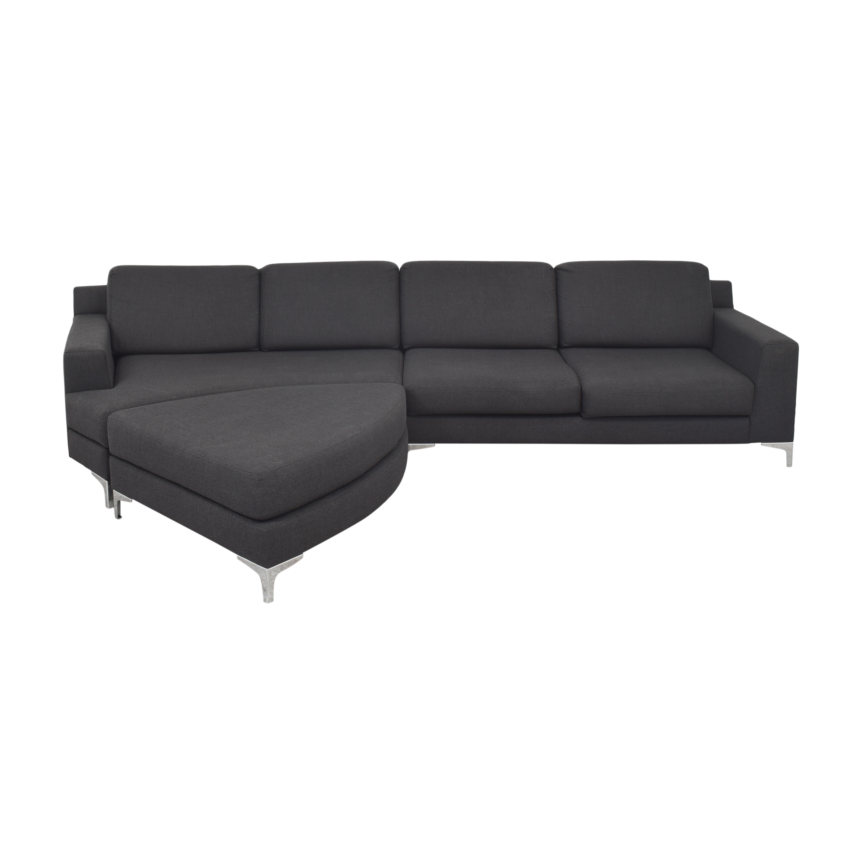 Lazzoni Mid Century Modern Sectional Sofa with Ottoman / Sofas