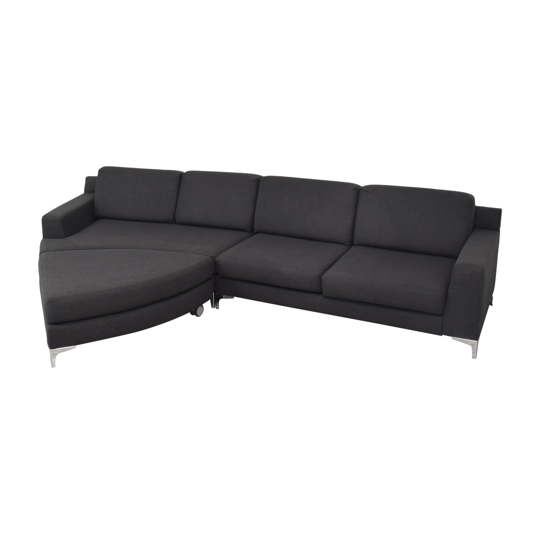 Lazzoni Mid Century Modern Sectional Sofa with Ottoman Lazzoni