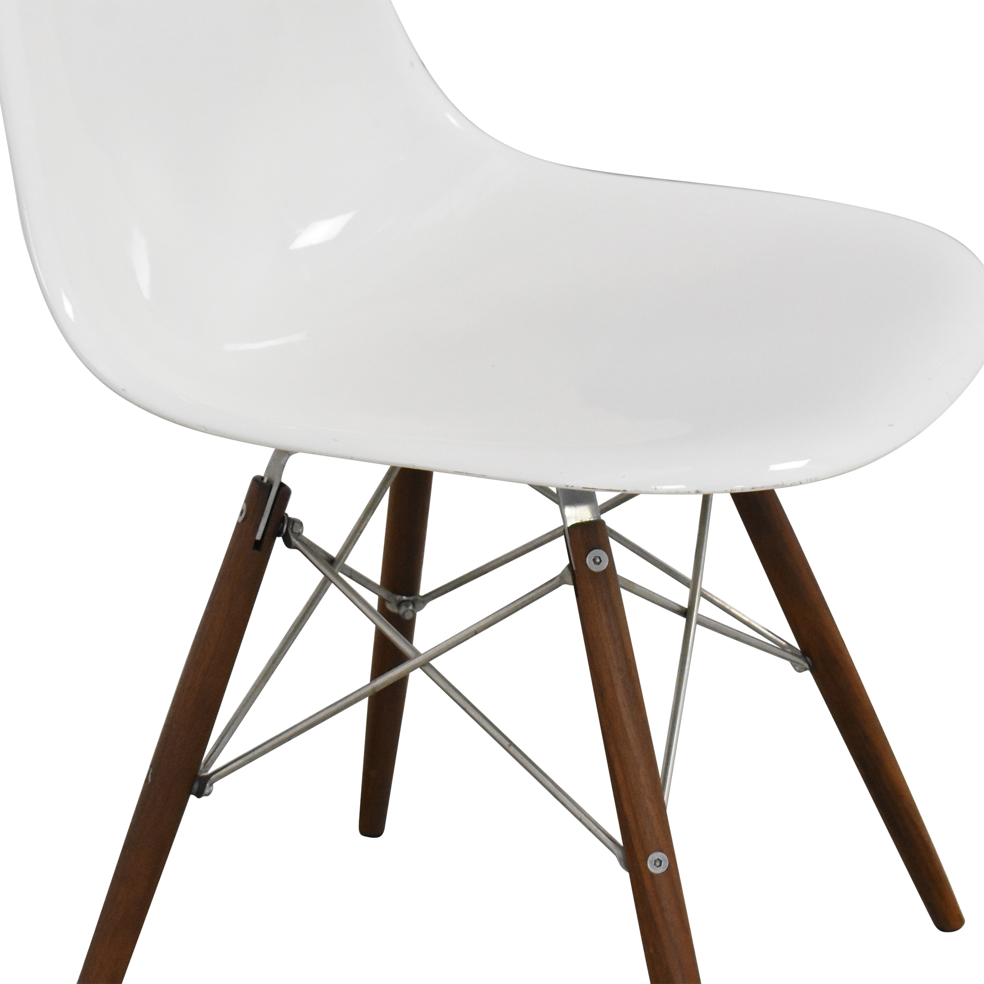 Eames-Style Molded Chair white and brown
