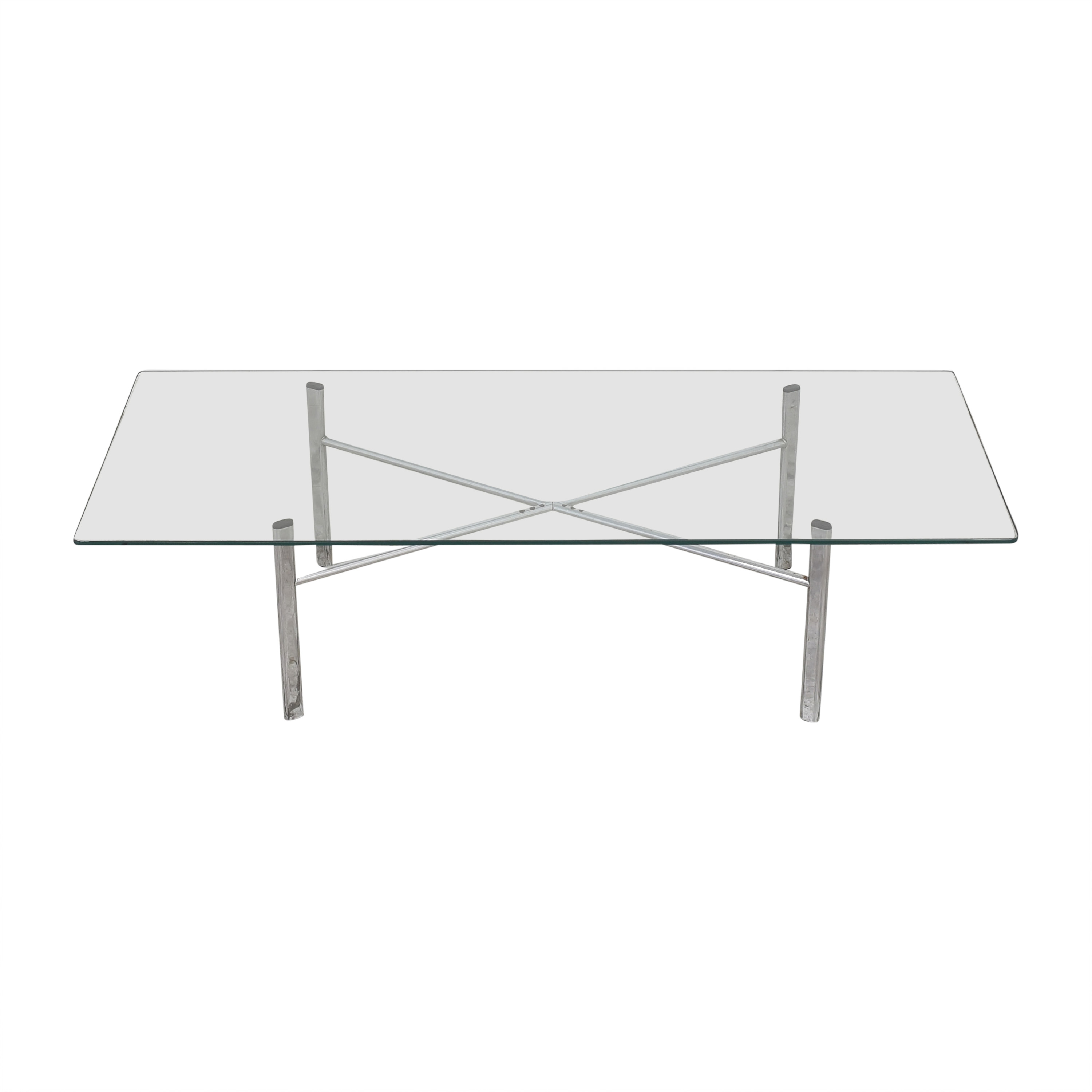 Custom Modern Coffee Table with Transparent Surface silver
