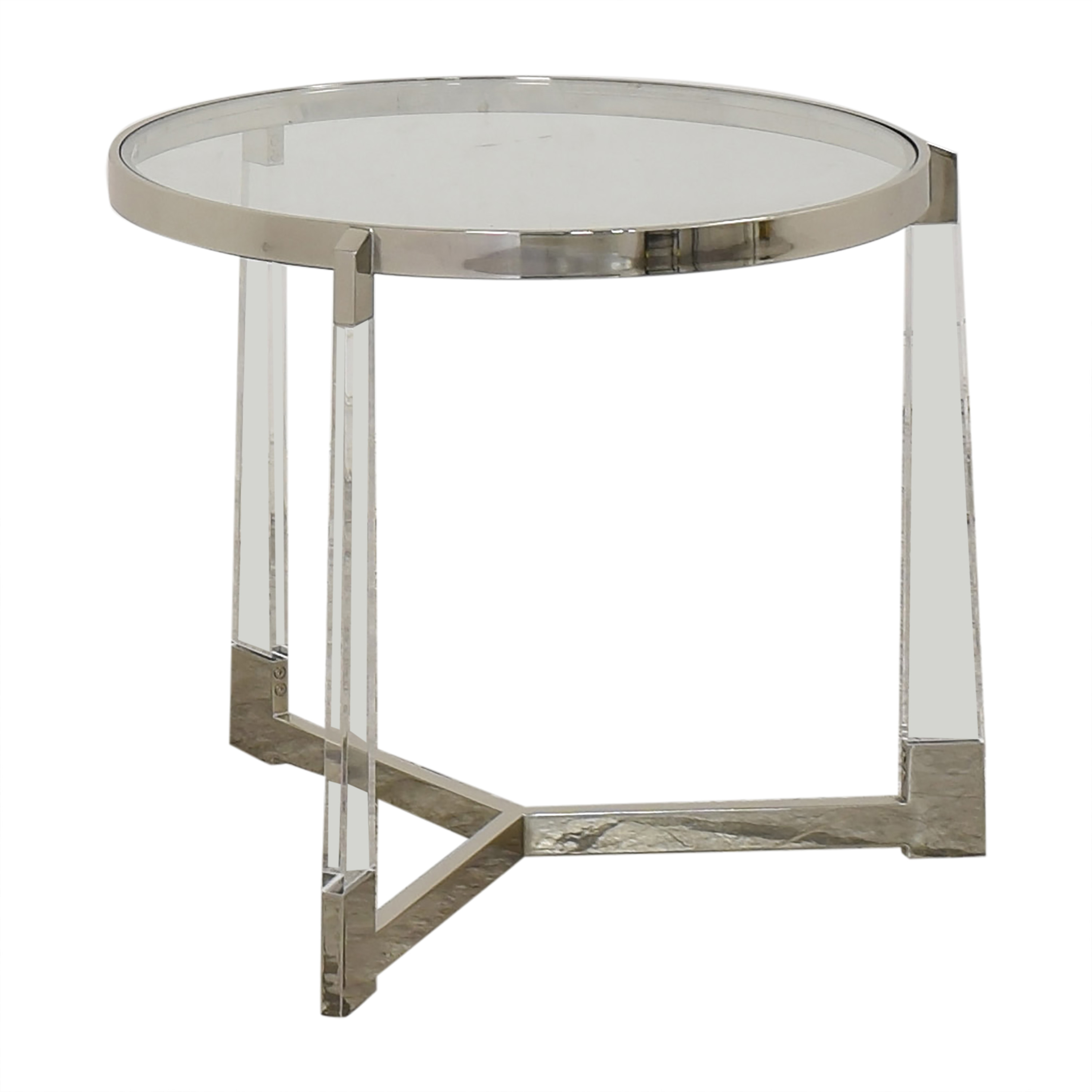 Round Side Table with Transparent Surface nyc