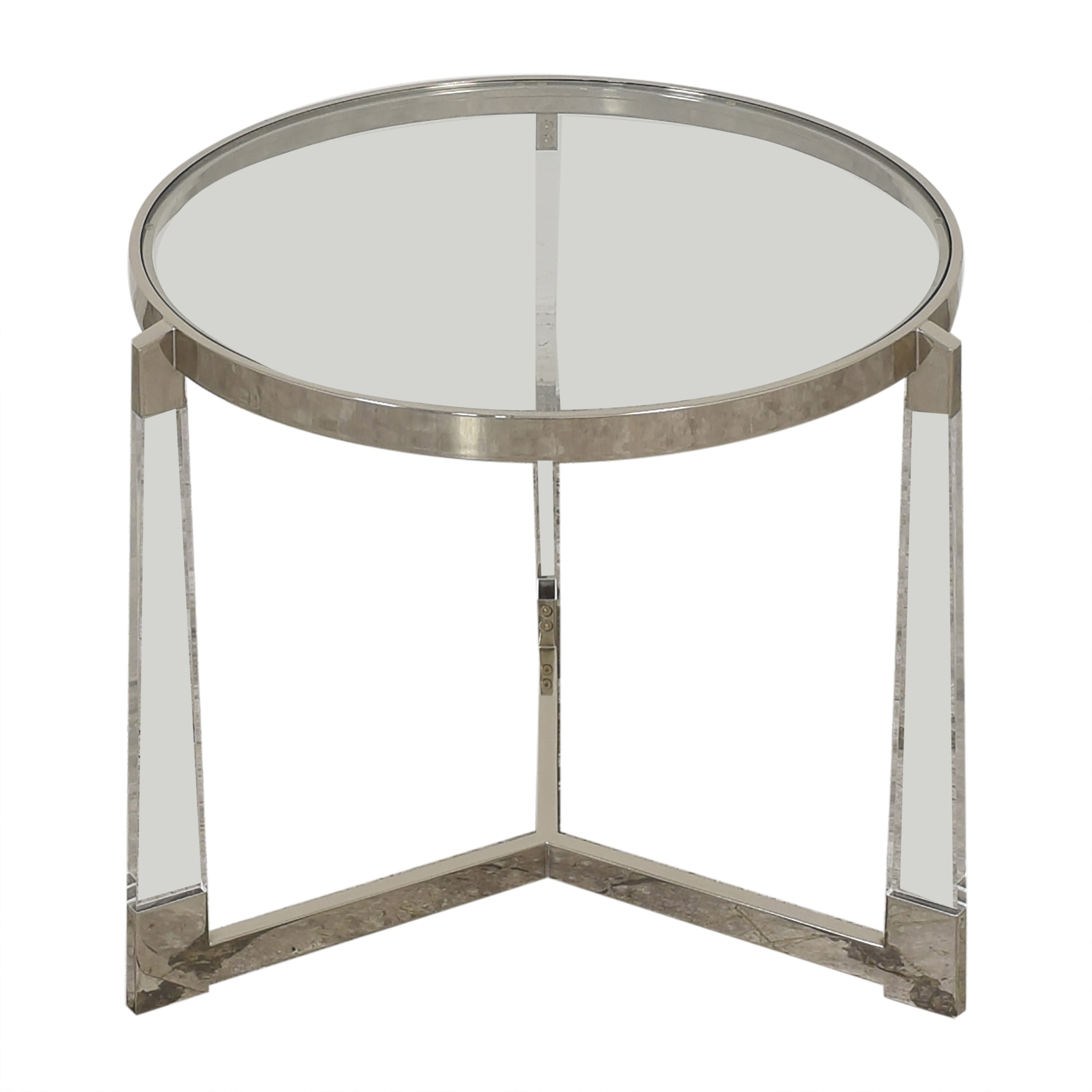 Round Side Table with Transparent Surface on sale