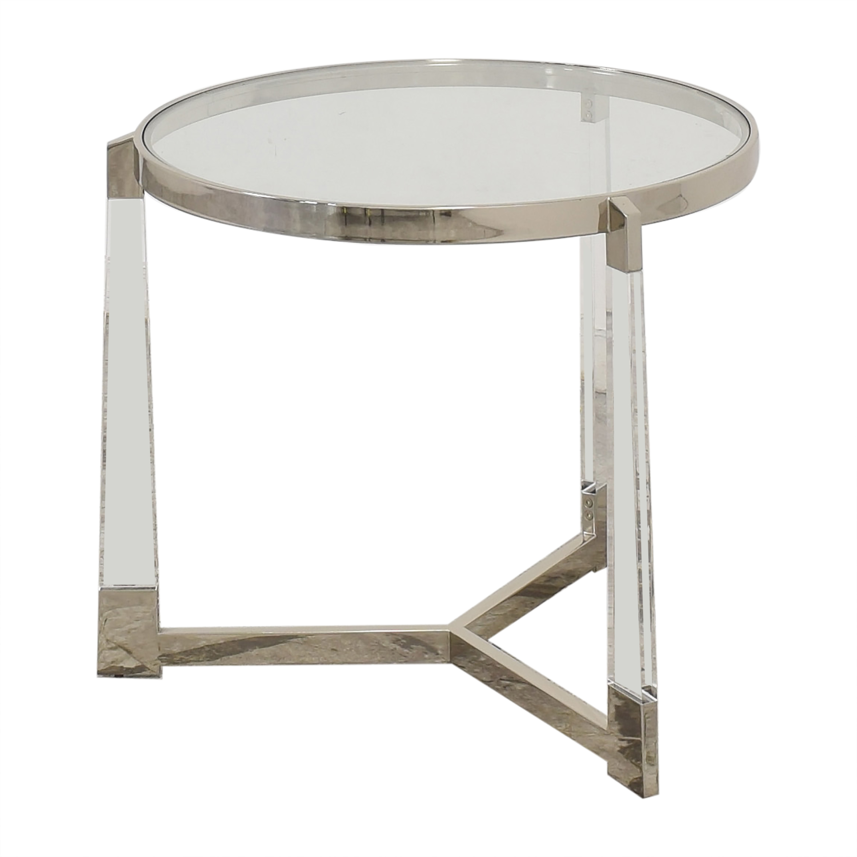 Round Side Table with Transparent Surface