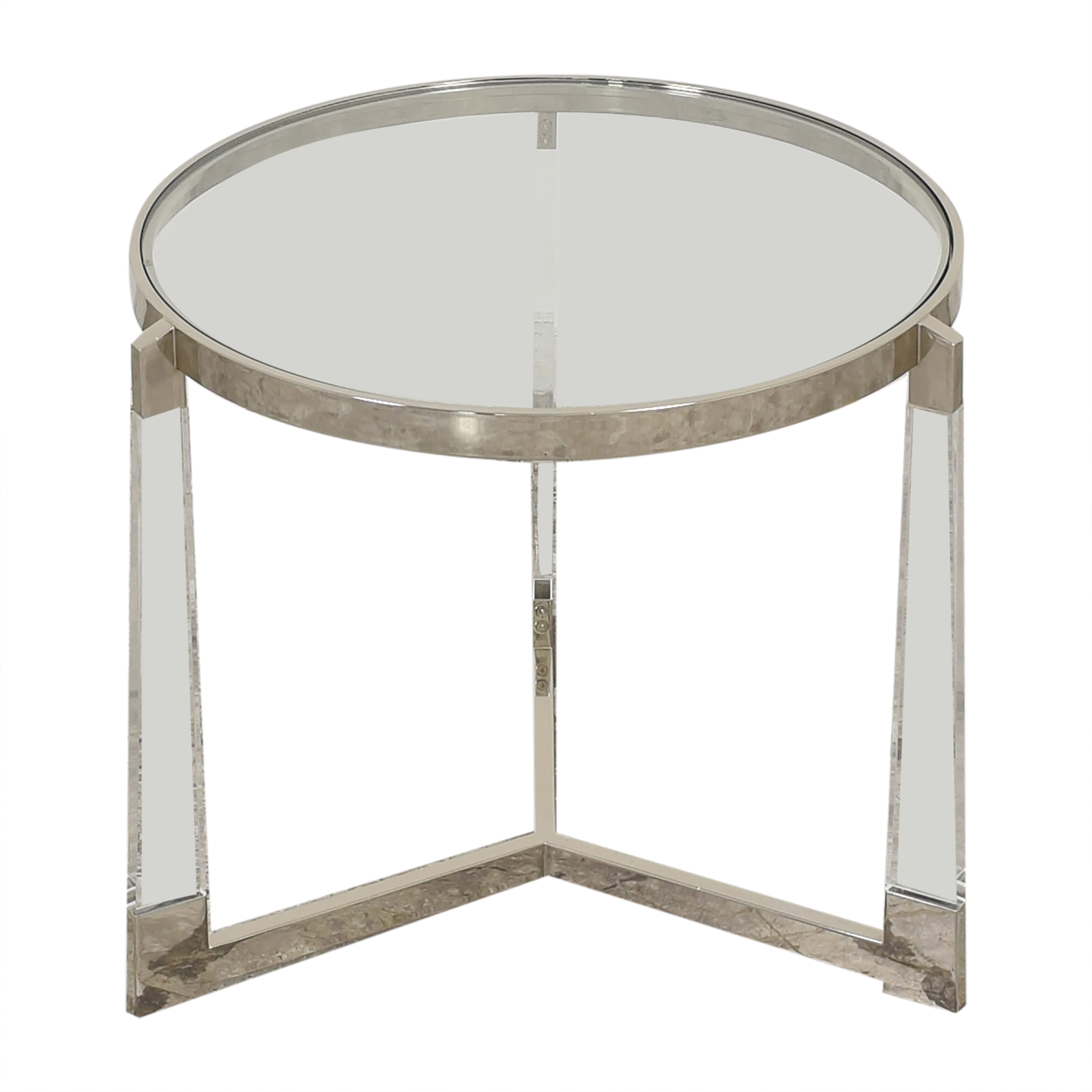 Round Side Table with Transparent Surface used