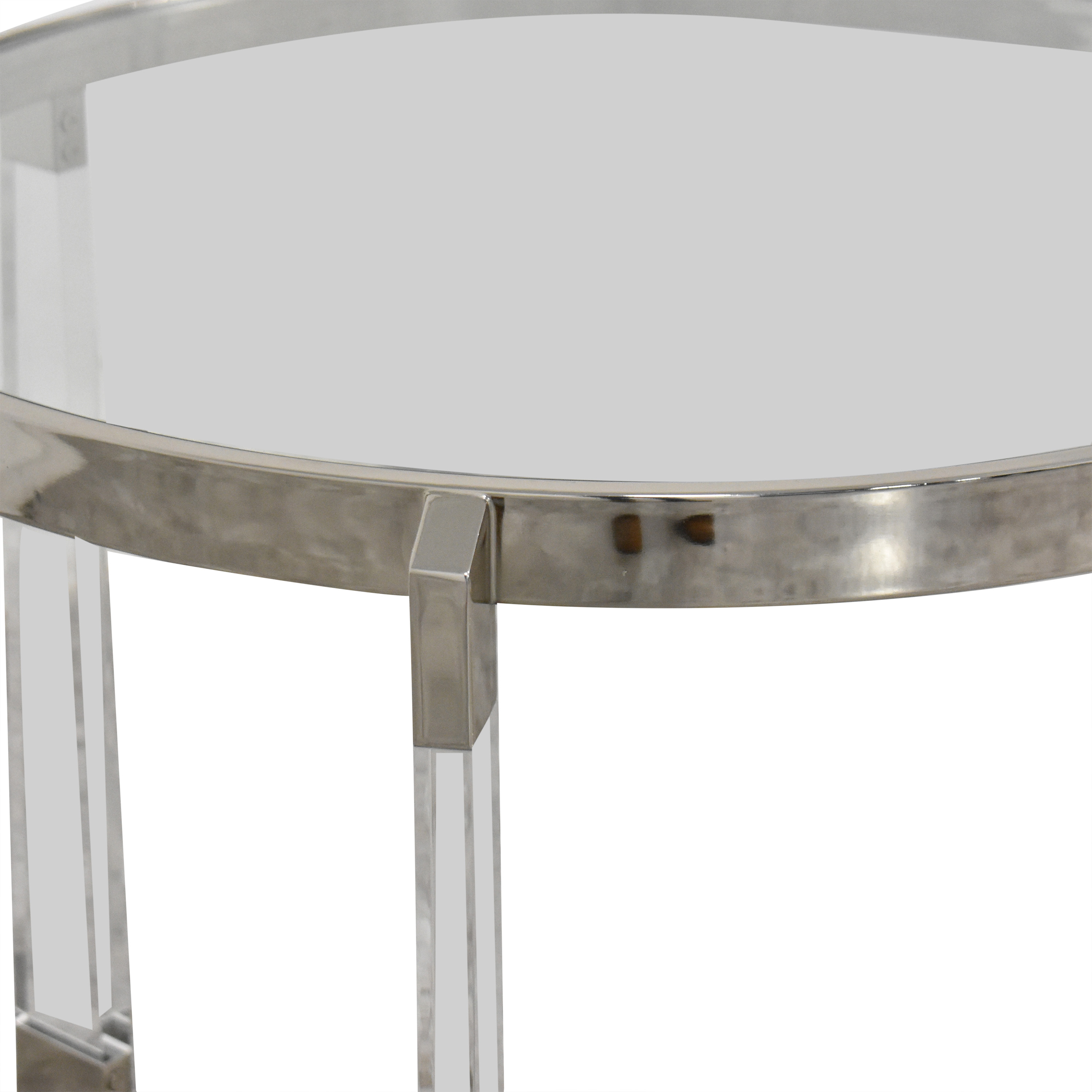 Round Side Table with Transparent Surface ma