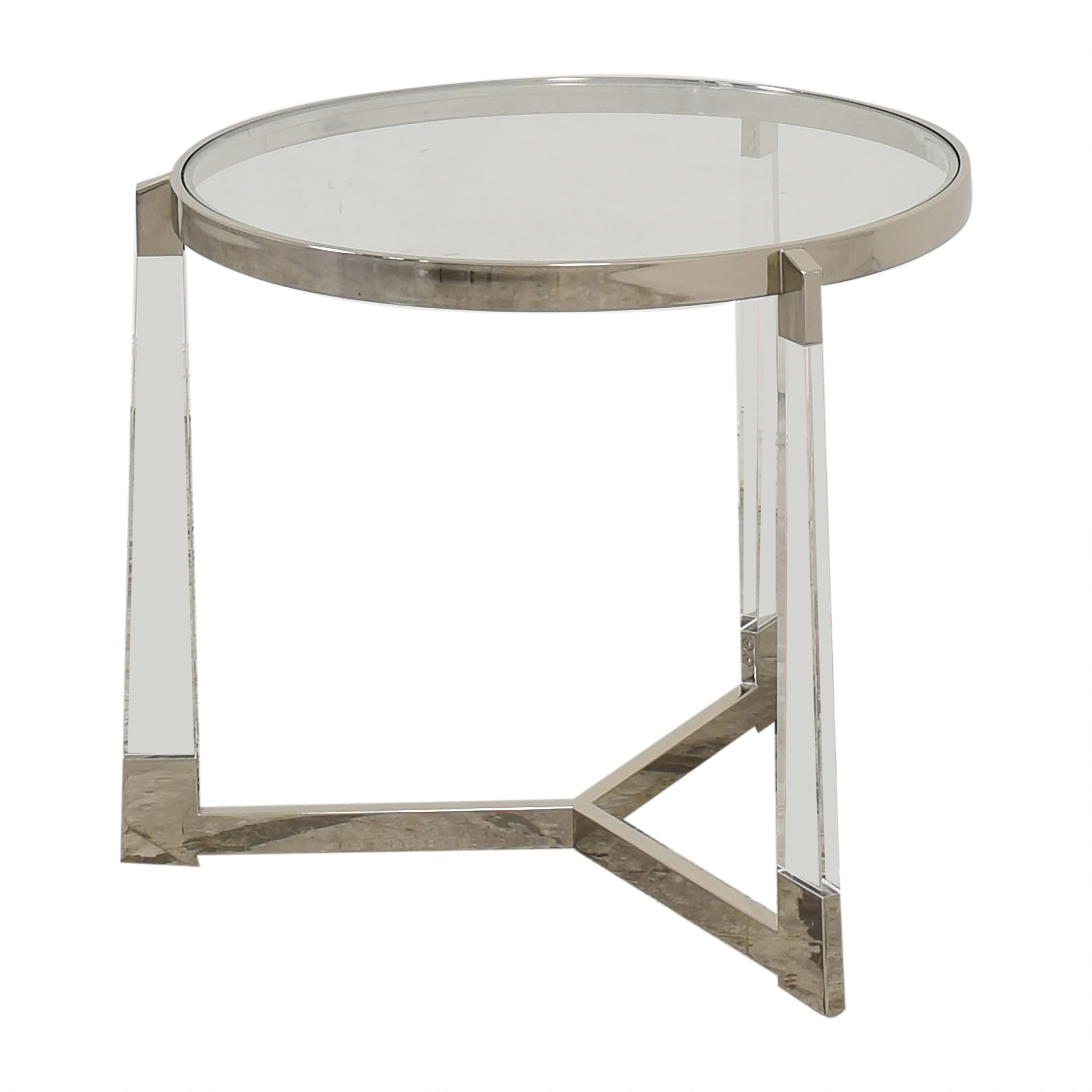 Round Side Table with Transparent Surface / End Tables